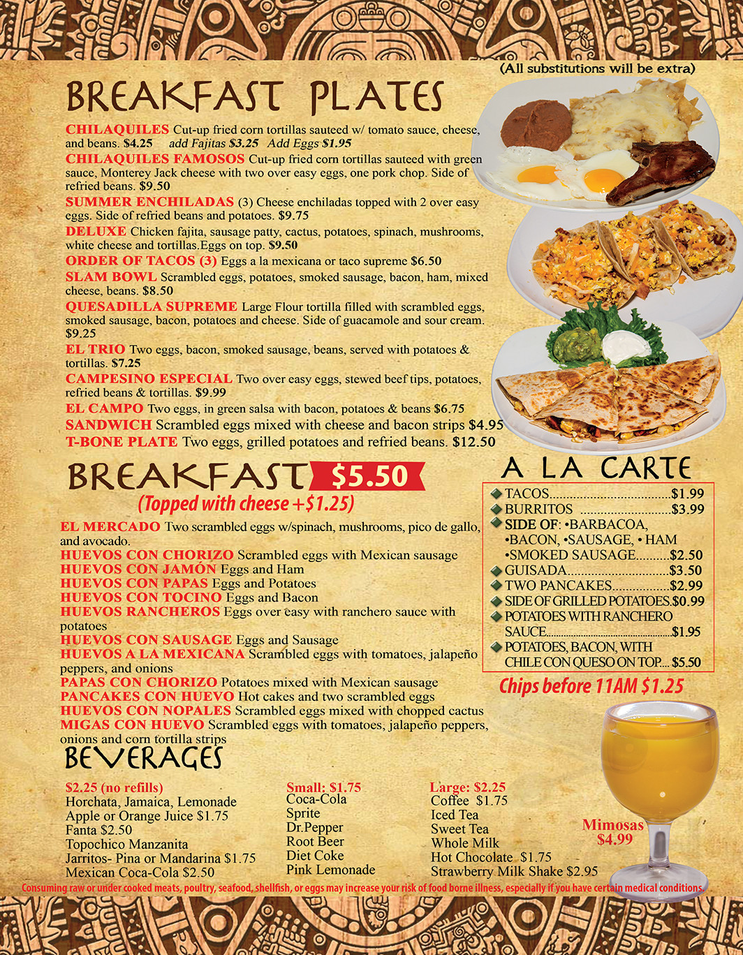 Menu For El Centinela Mexican Restaurant In League City Texas