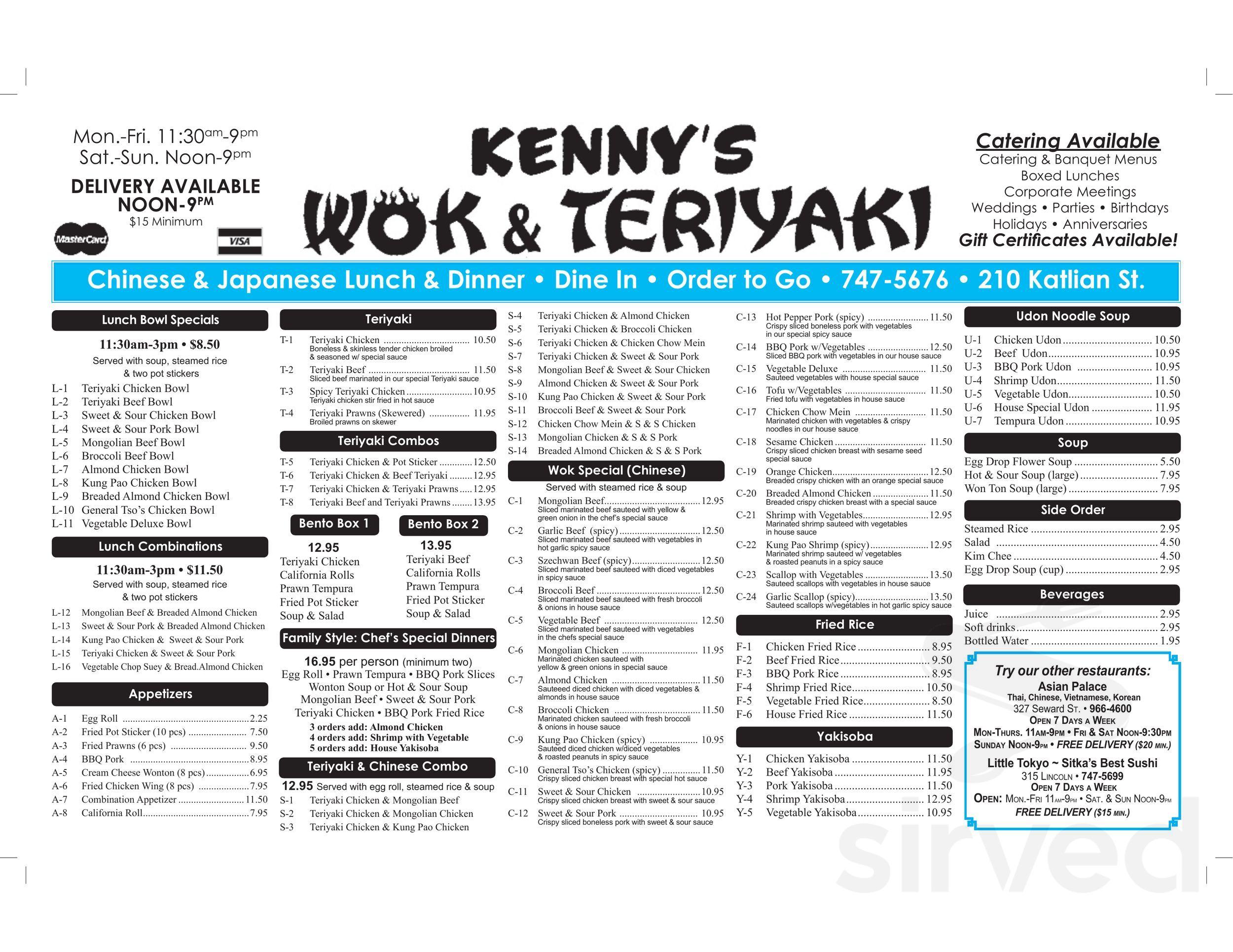 Kenny S Wok Teriyaki Menu In Sitka Alaska Usa