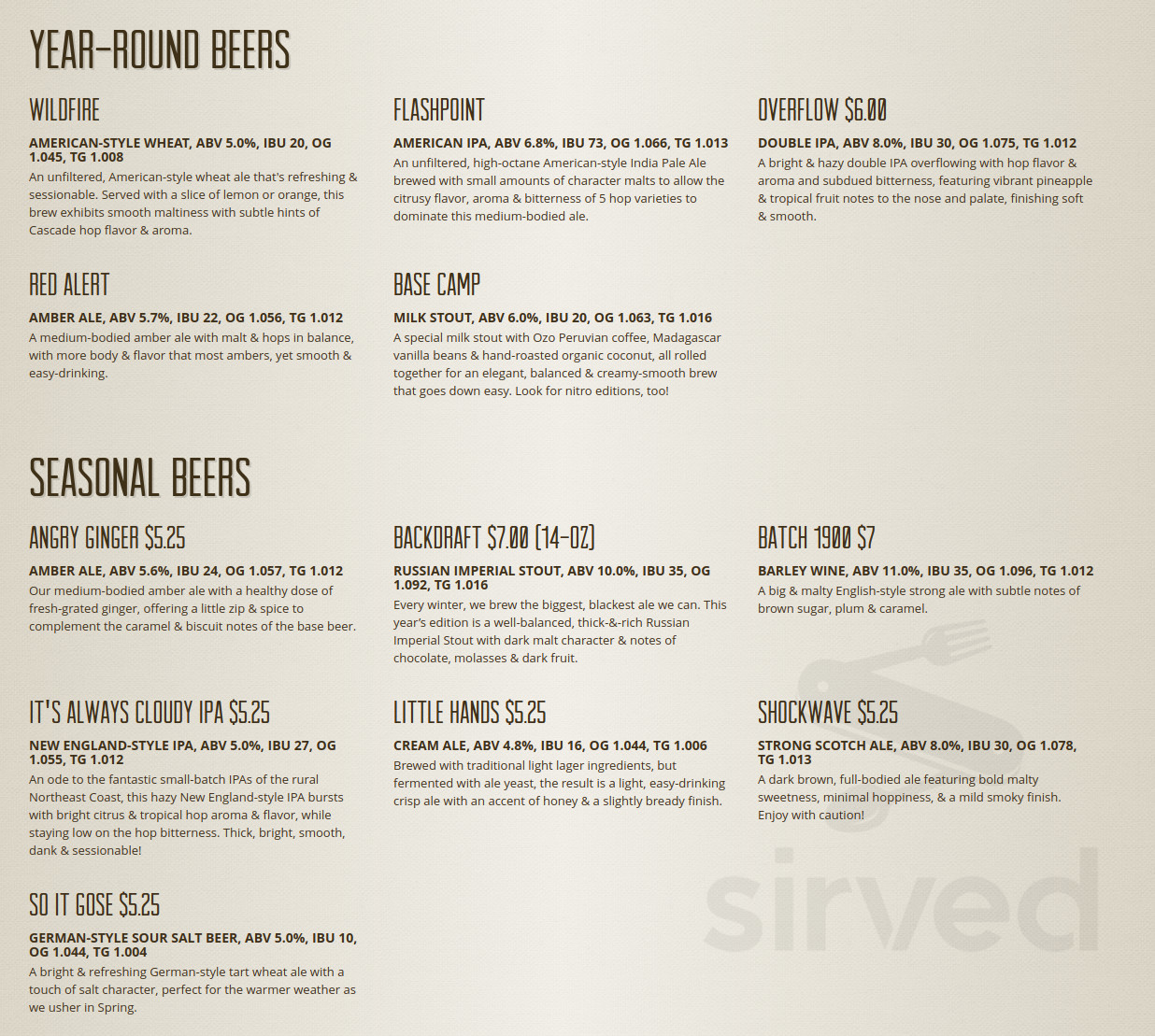 Menu For Pumphouse Brewery In Longmont Colorado Usa