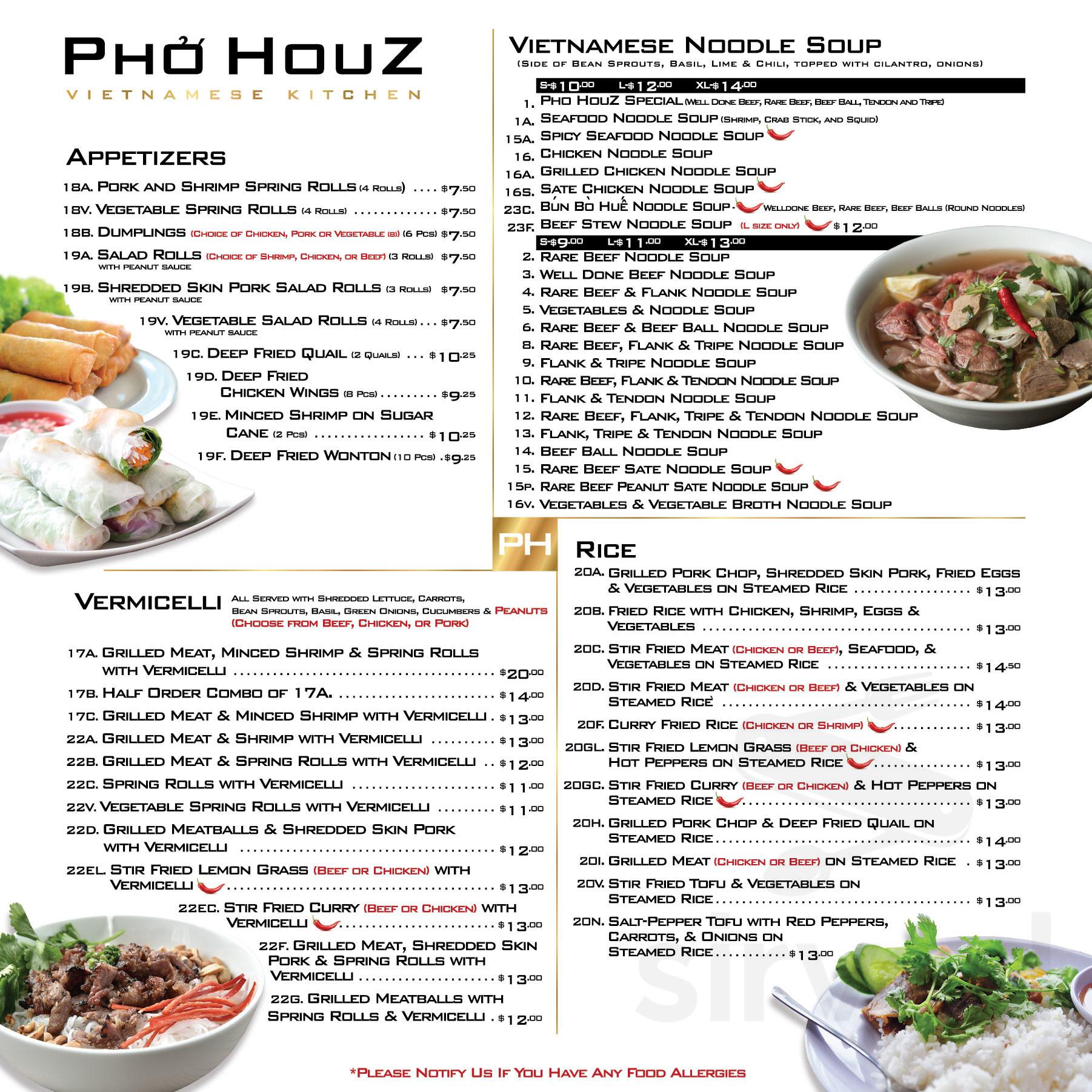 Menu For Pho Houz Vietnamese Kitchen In Calgary Alberta