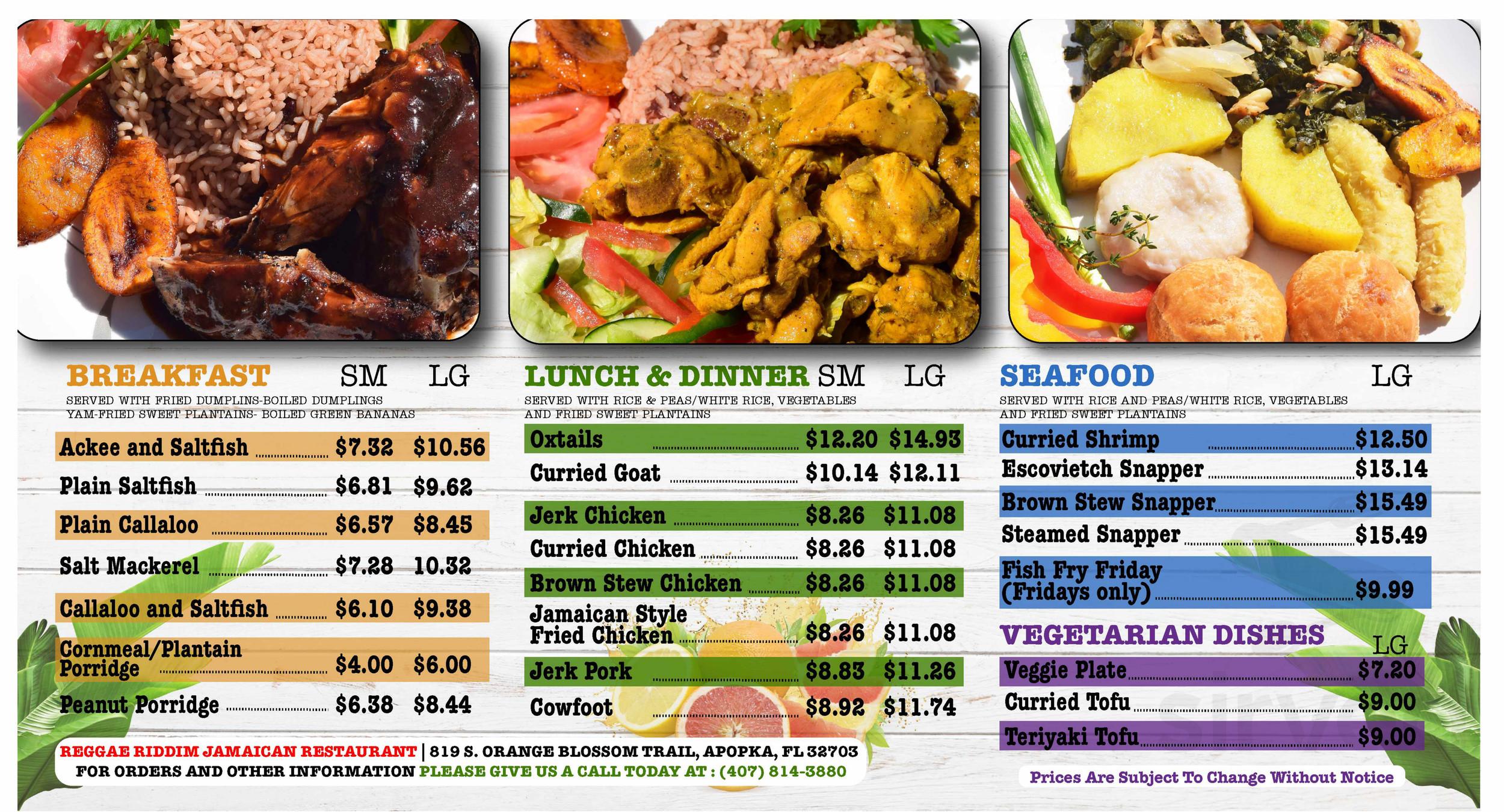 Menu for Reggae Riddim Jamaican Restaurant LLC  in Apopka