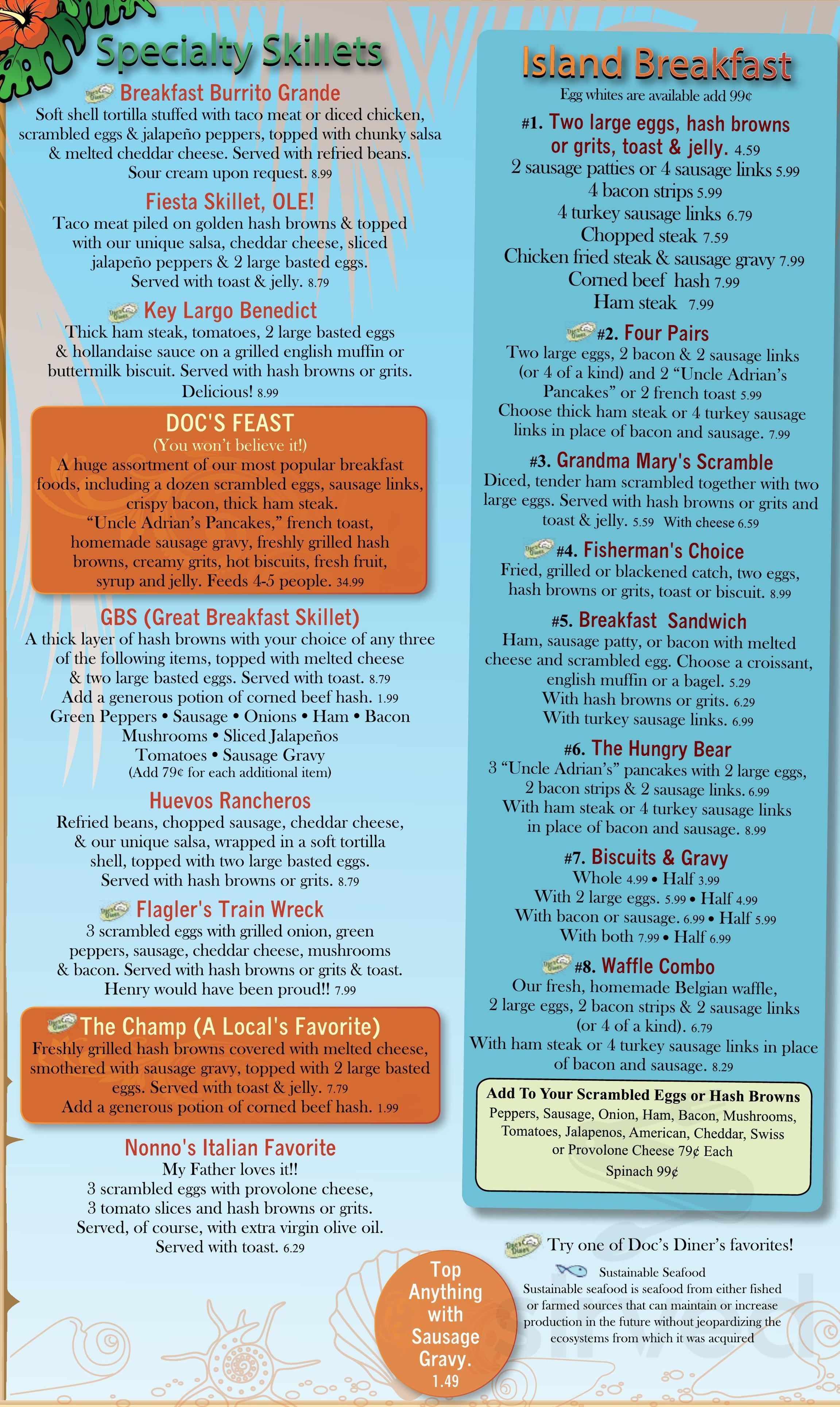 Doc's Diner menu in Loves Park, Illinois, USA