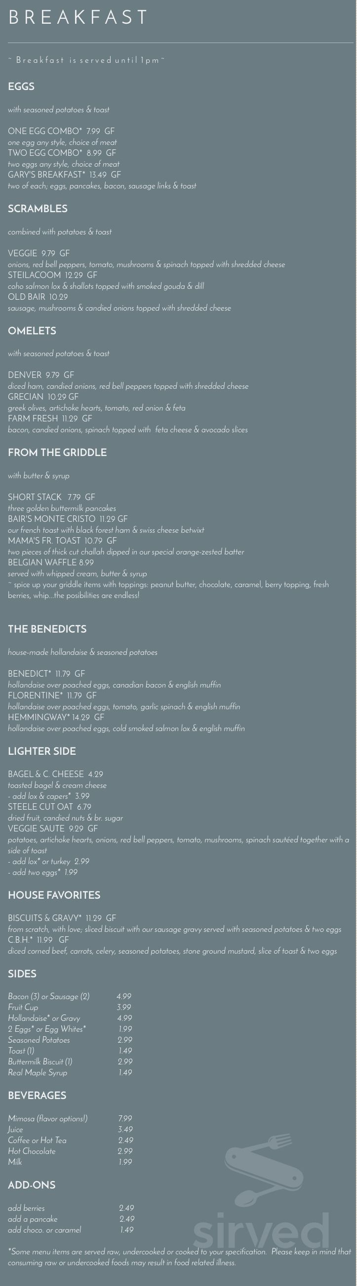 Menu for The Bair Bistro in Steilacoom, Washington, USA