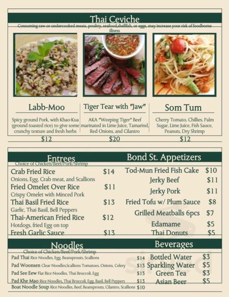 Asia Kitchen Menu | Menu For Bond St Asia Kitchen In Miami Florida Usa
