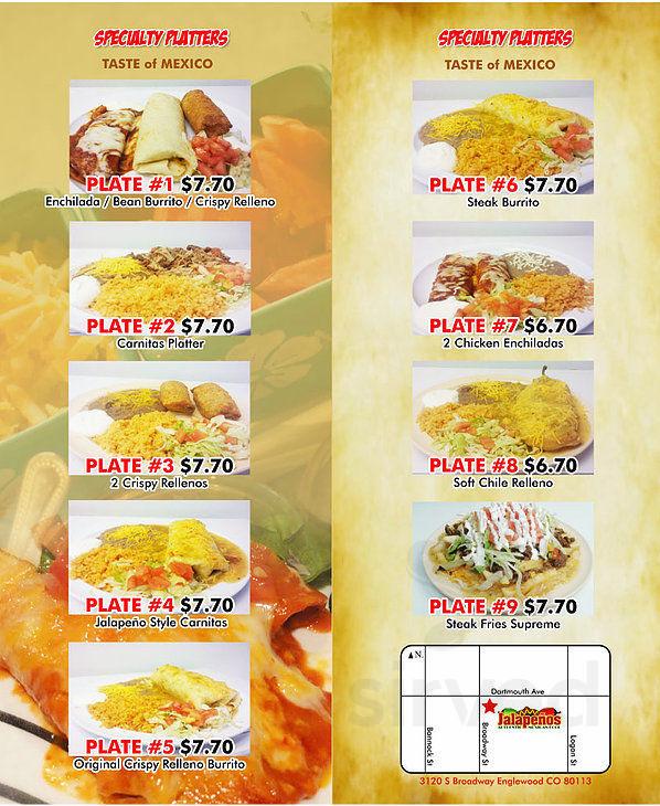Menu For Jalapenos Restaurant In Englewood Colorado Usa