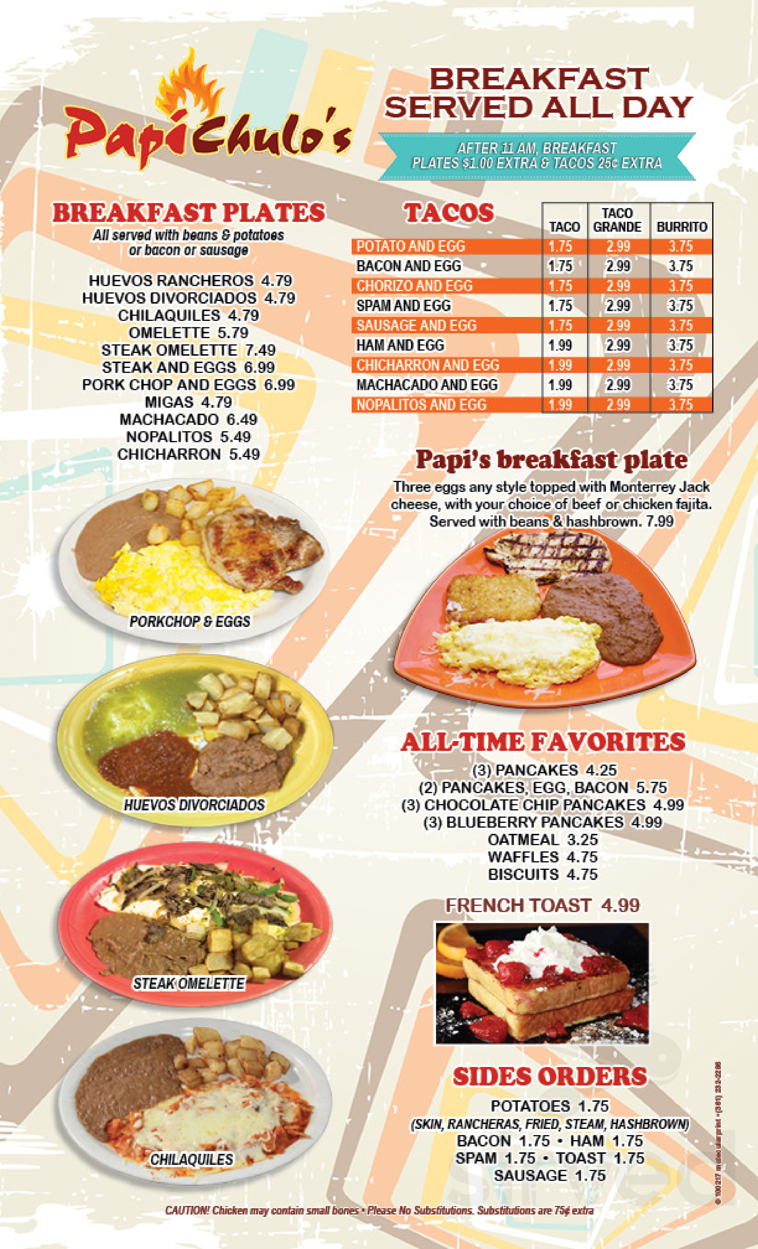 Menu For Papi Chulo S Mexican Restaurant In Corpus Christi
