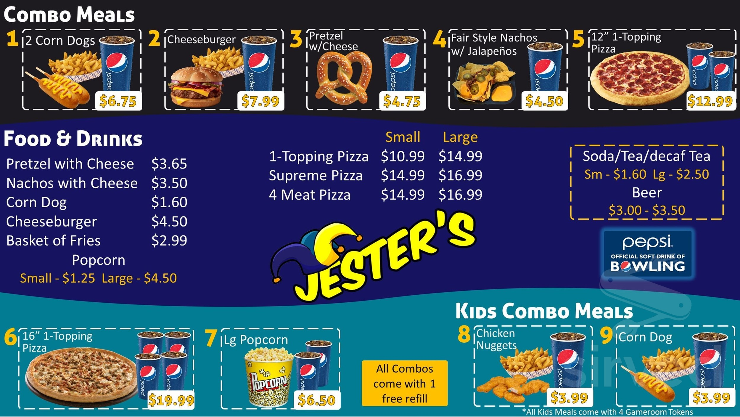 Menu for Jester's Bowling Center in Warsaw, Missouri, USA