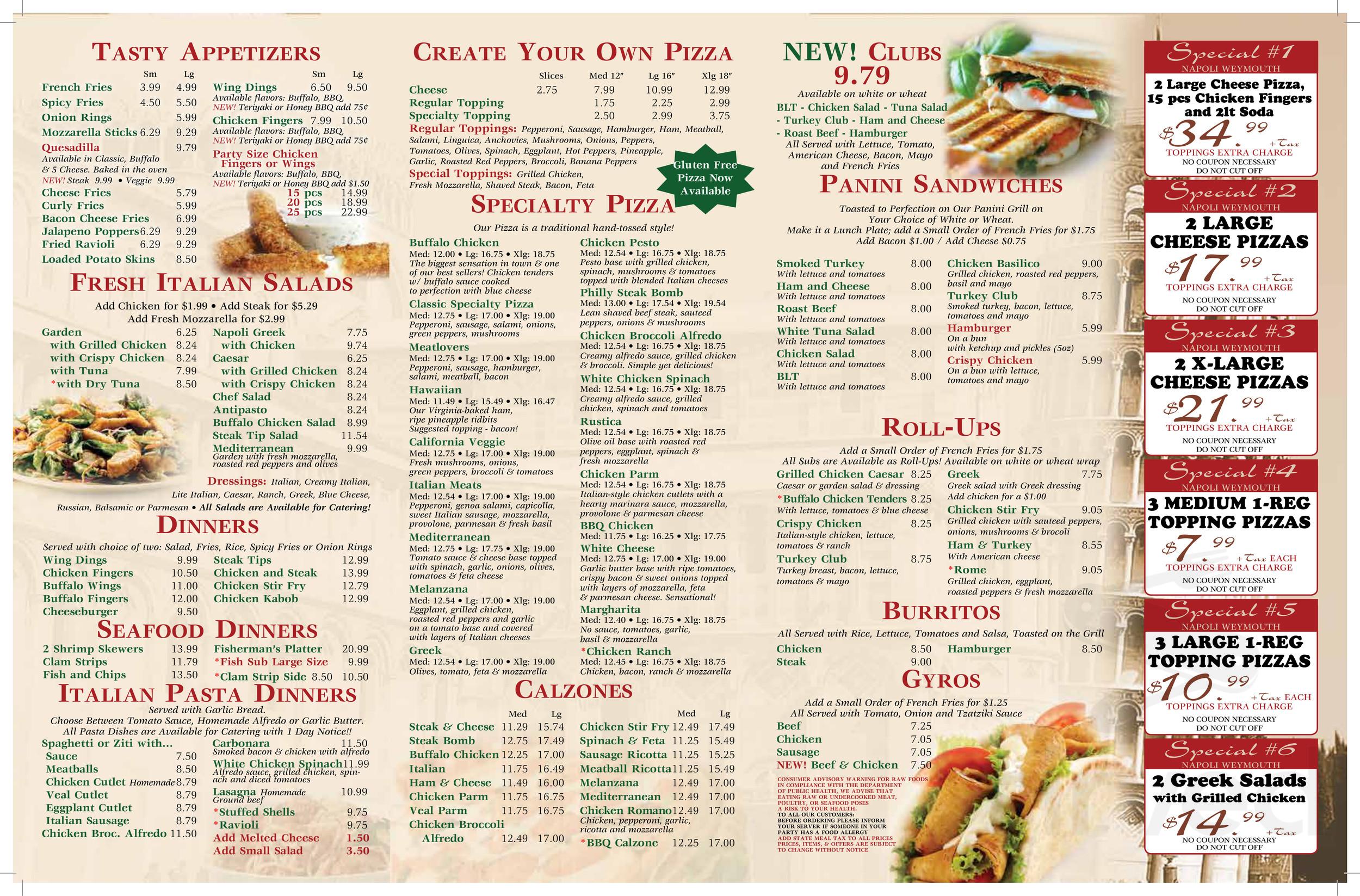 Napoli Pizza Whitman Menu In Whitman Massachusetts Usa