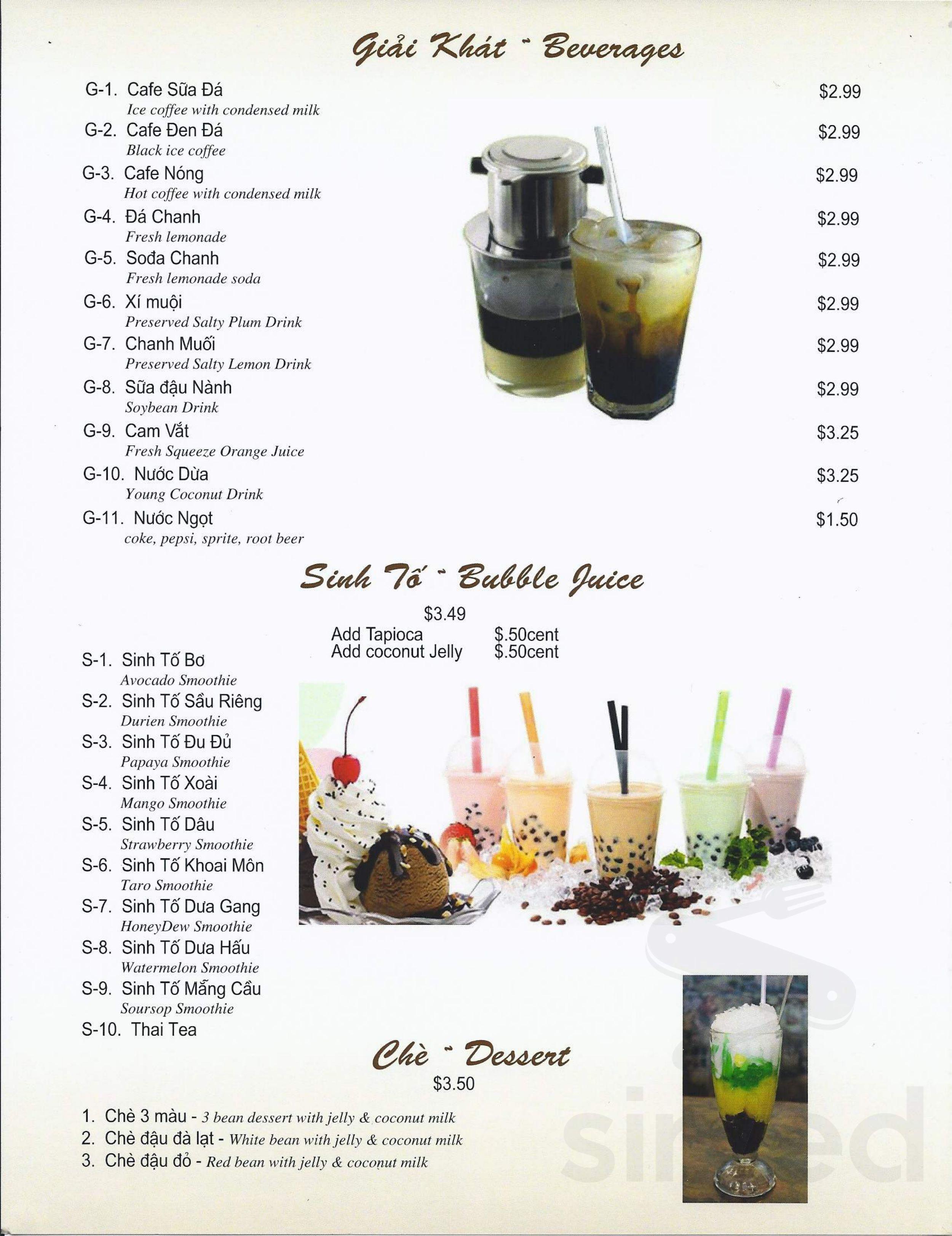 Menu for Phở Quỳnh Restaurant in Federal Way, Washington