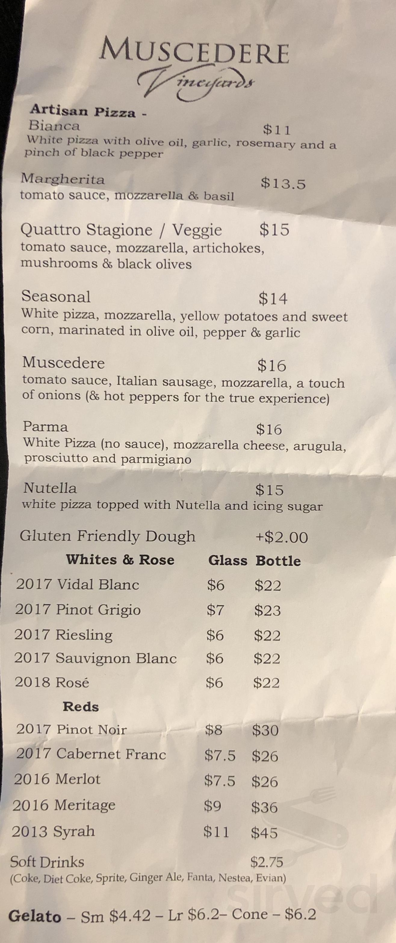Muscedere Vineyards Menu In Harrow Ontario Canada