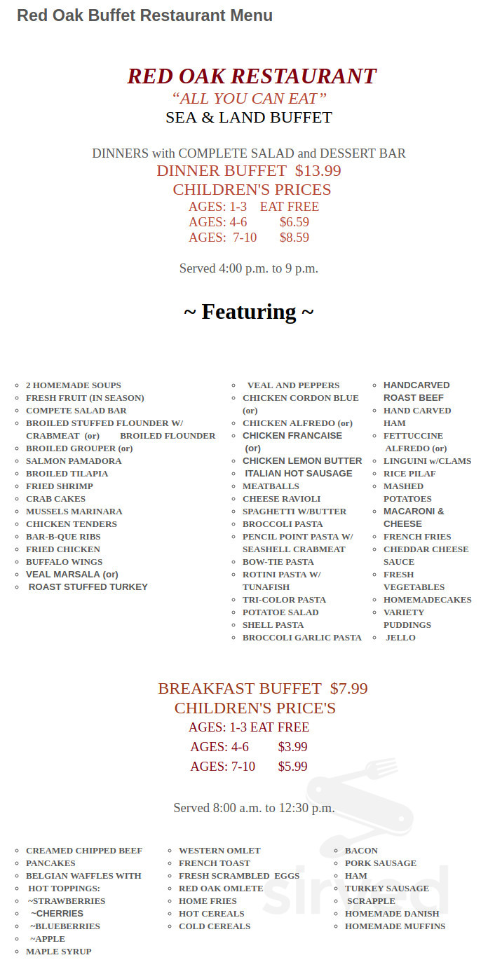 Astonishing Menu For Red Oak Restaurant In Wildwood New Jersey Usa Download Free Architecture Designs Fluibritishbridgeorg