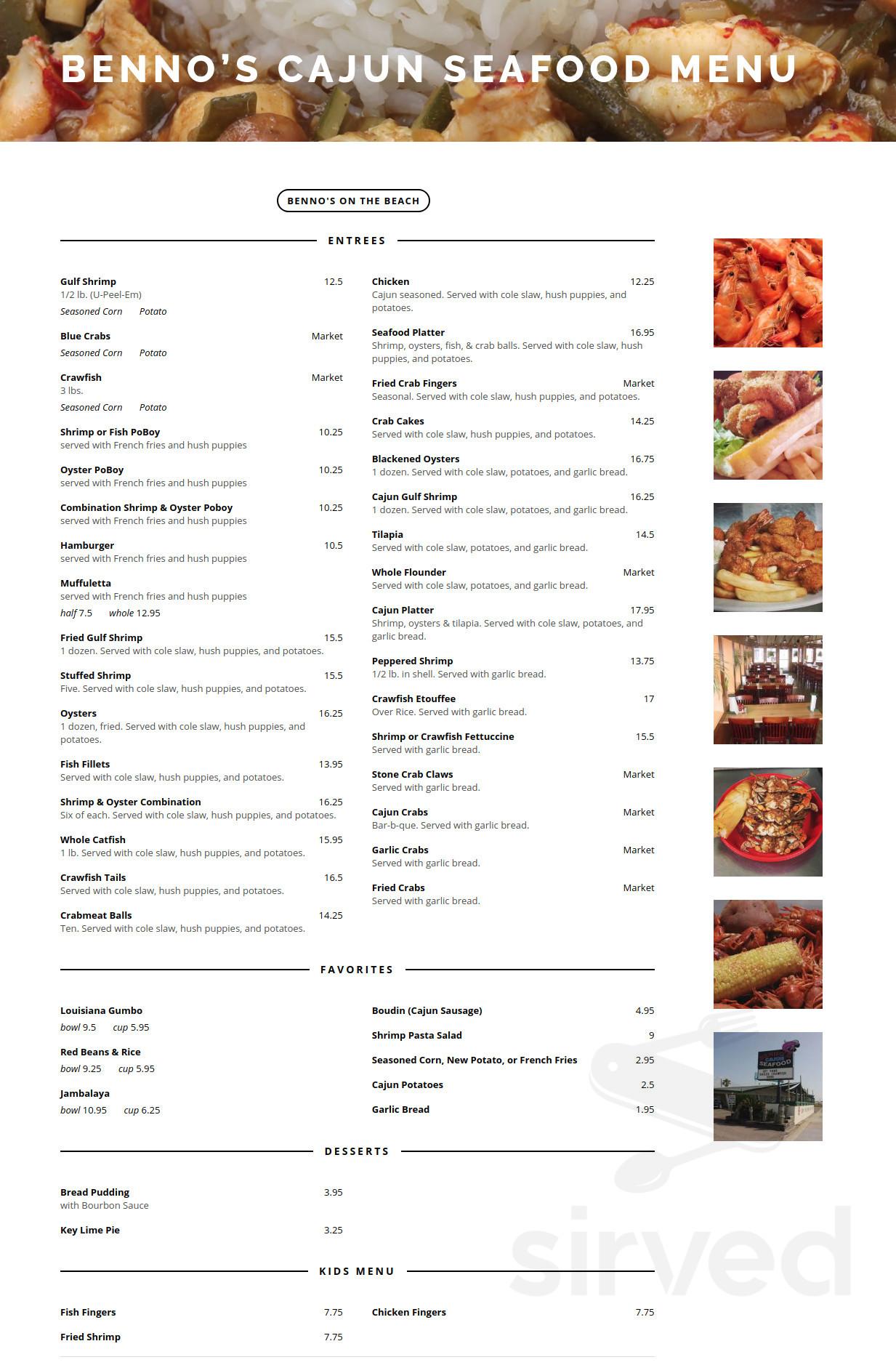 Menu For Benno S Cajun Seafood Restaurant In Galveston Texas