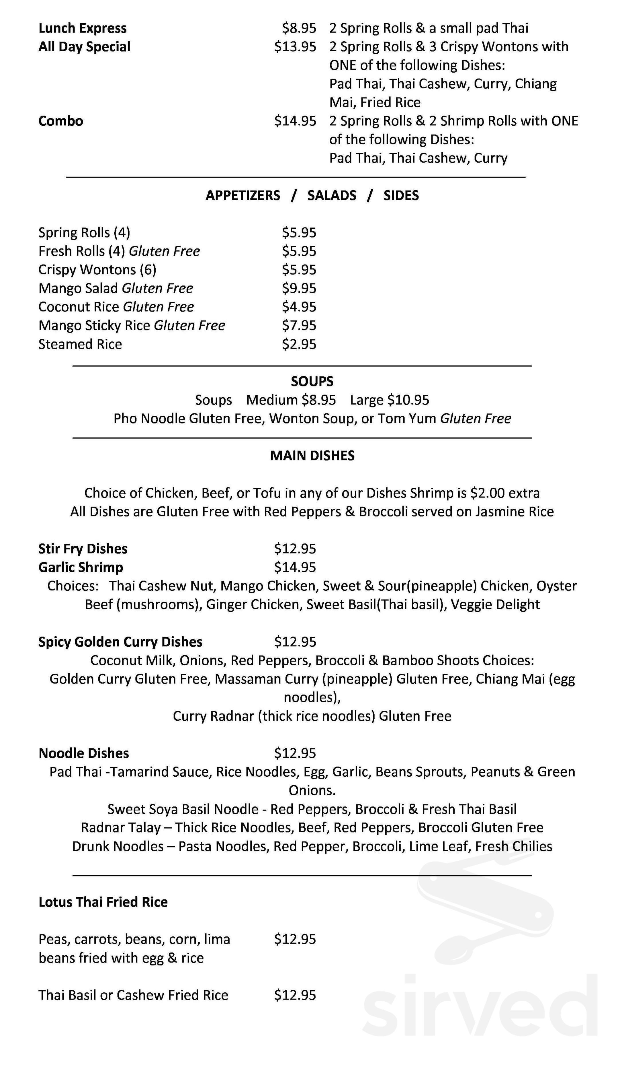lotus thai restaurant menu in st thomas ontario canada
