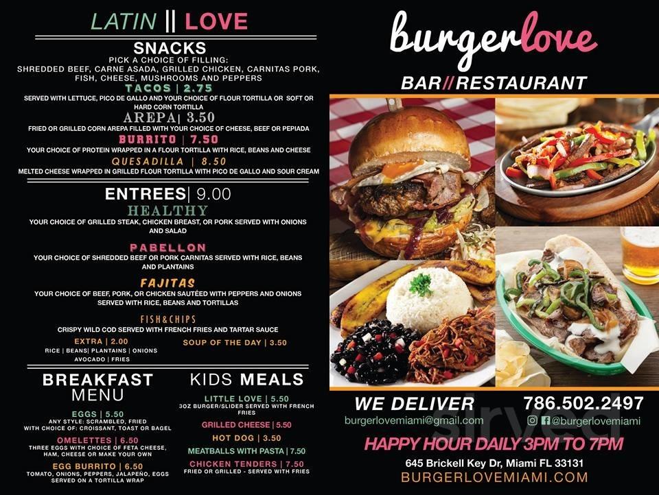 Menu For Burger Love In Miami Florida Usa