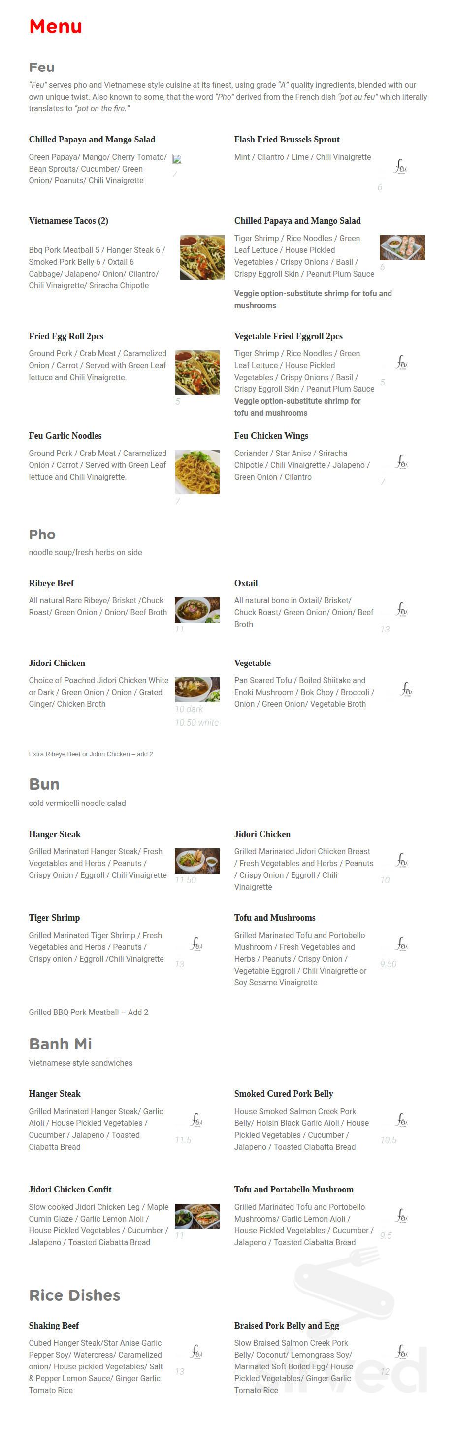 Menu For Feu Pho Kitchen In Studio City California Usa