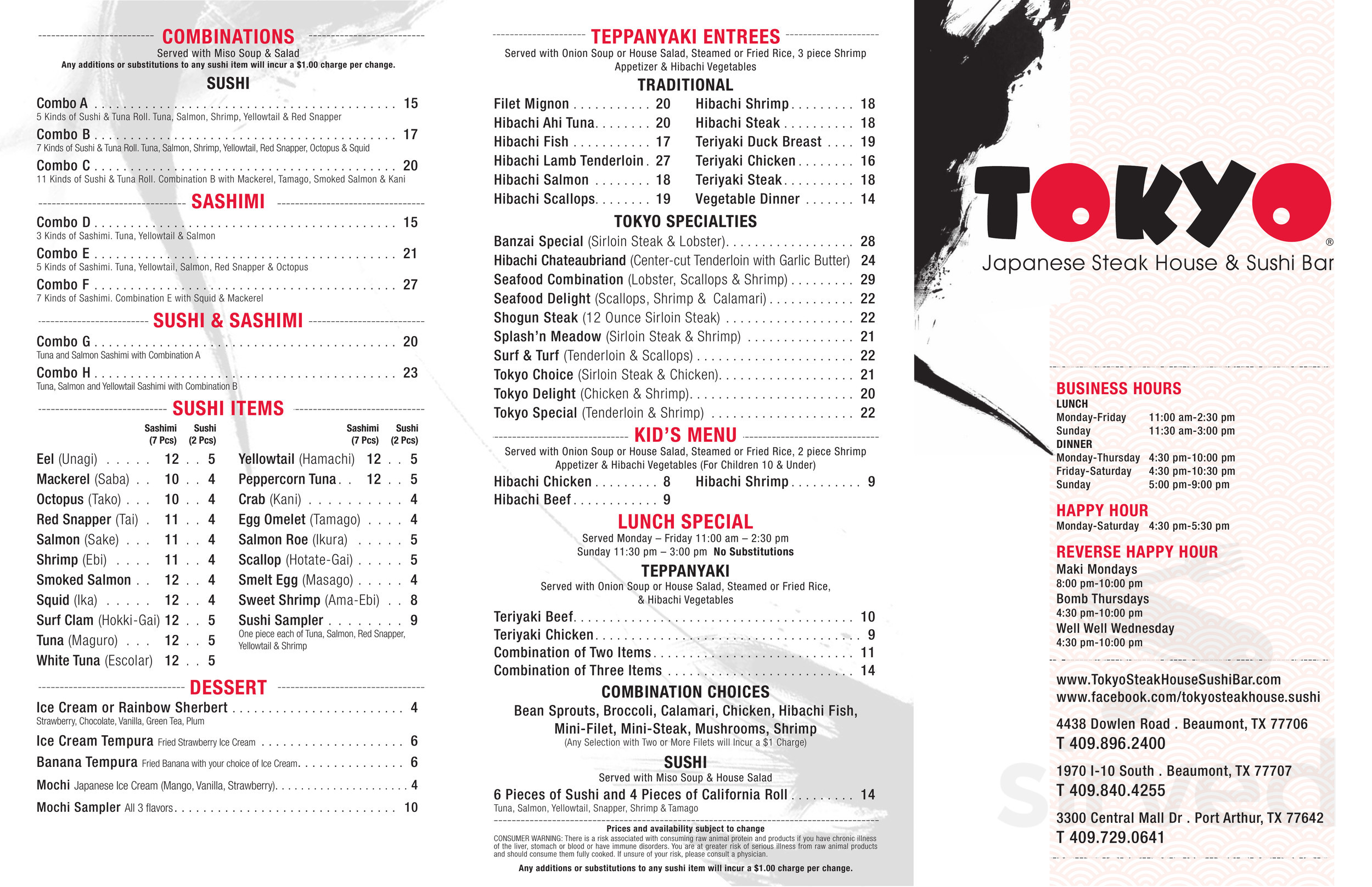 Menu For Tokyo Japanese Steak House Sushi Bar In Beaumont