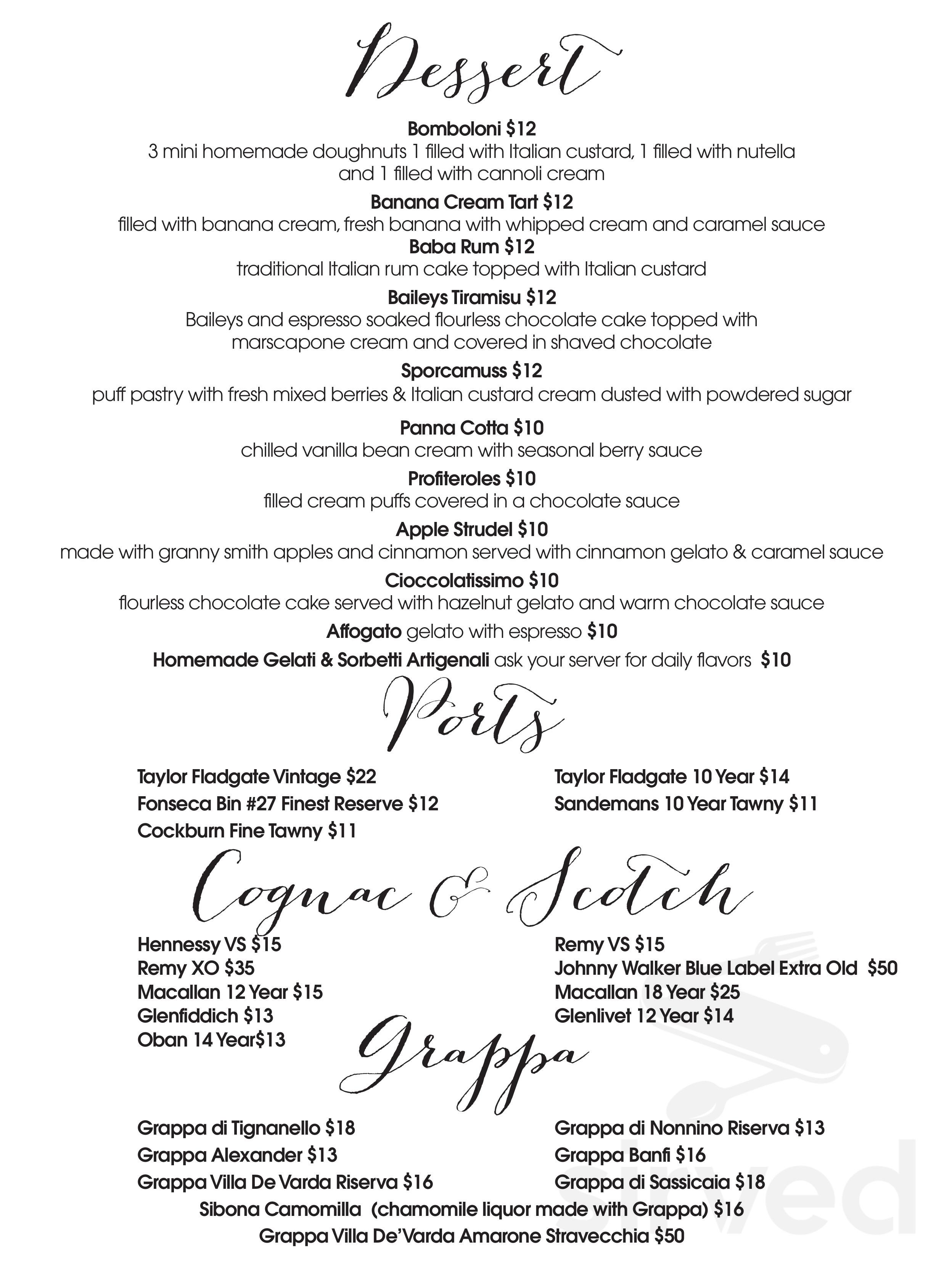 Menu for La Nonna Bella - DESSERT page 1 of 5