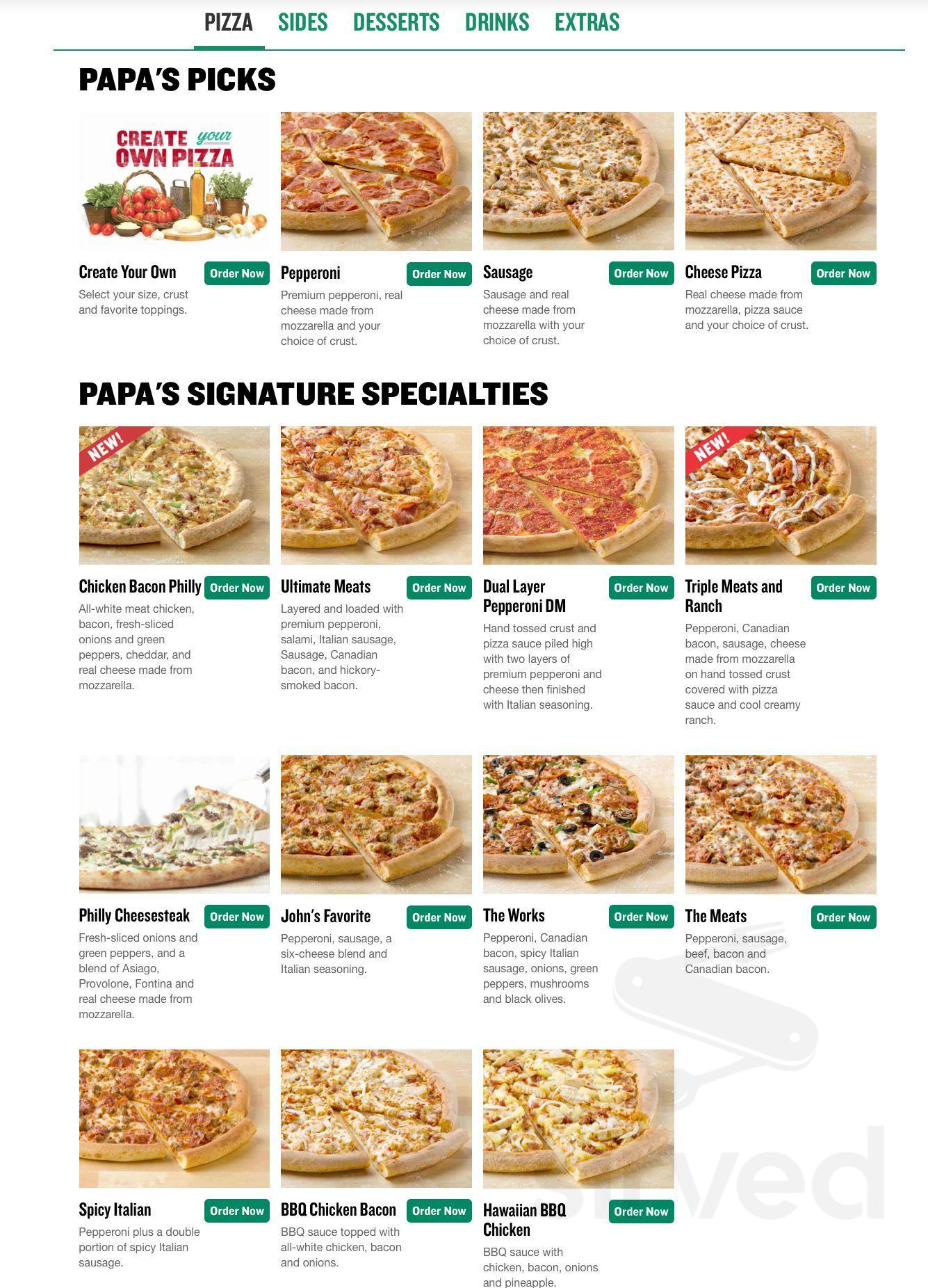 Papa John S Pizza Menu In Fort Worth Texas Usa