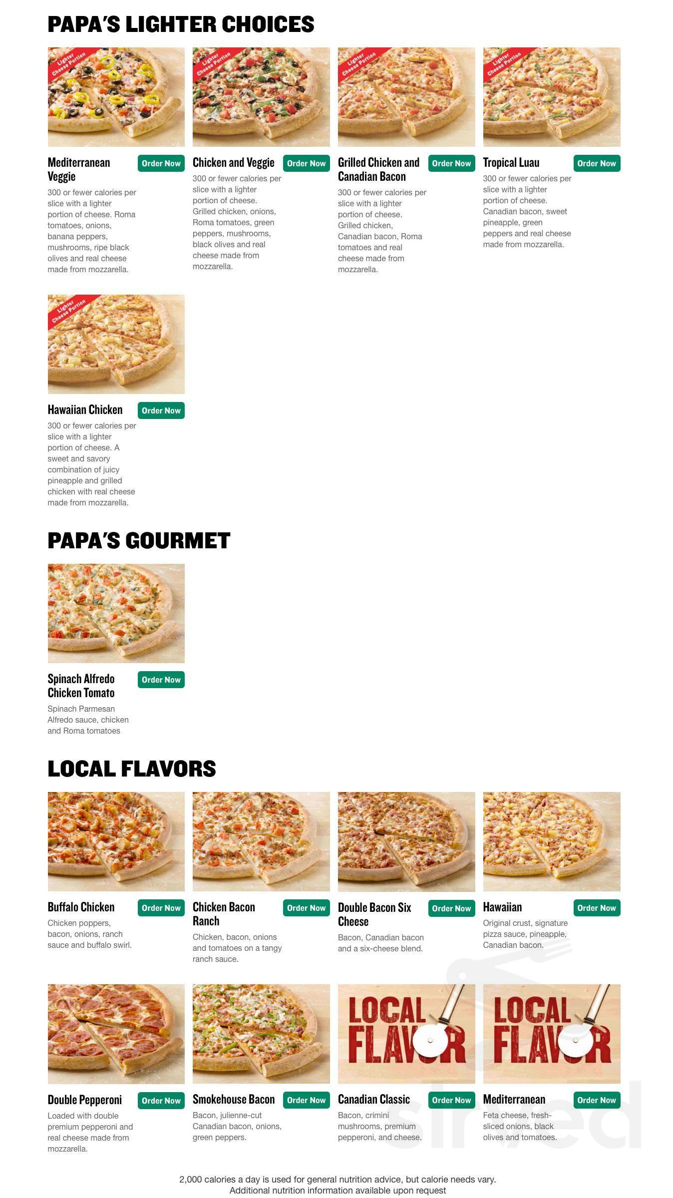 Menu for Papa Johns Chinese Restuarant in