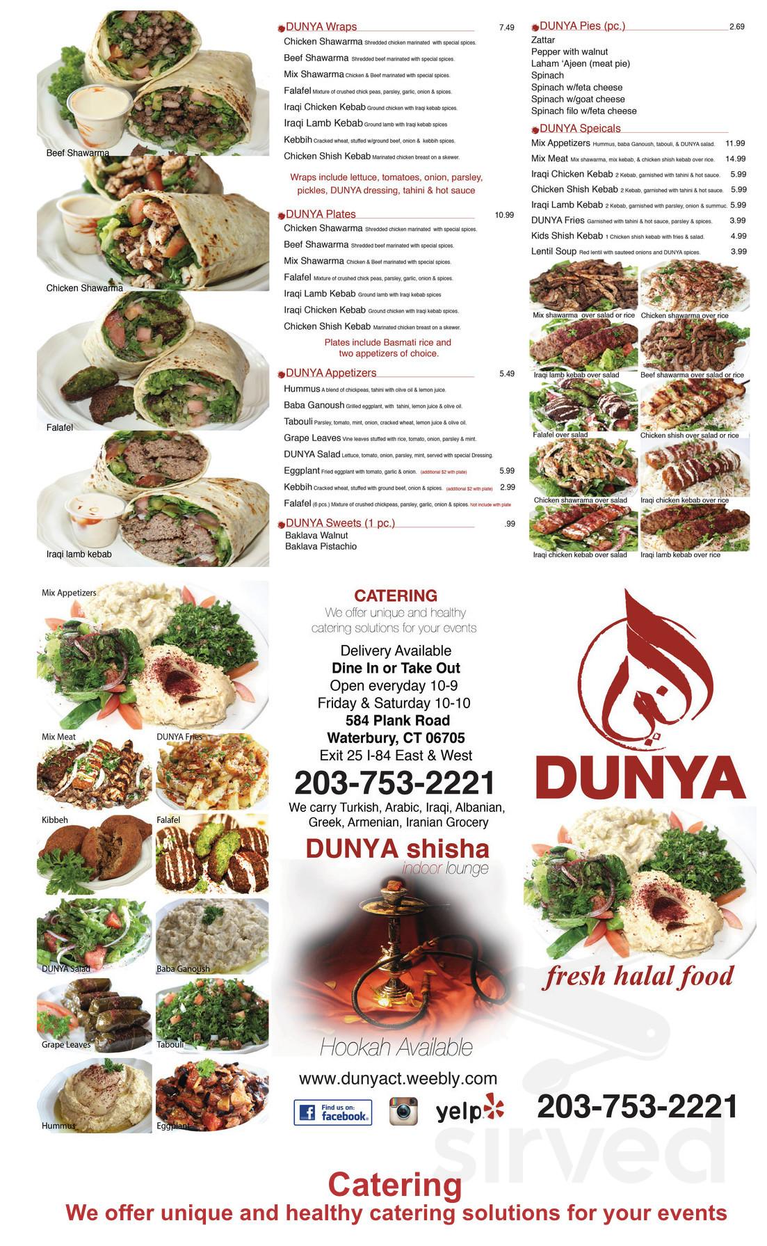 Dunya Fresh Halal Food Menu In Waterbury Connecticut