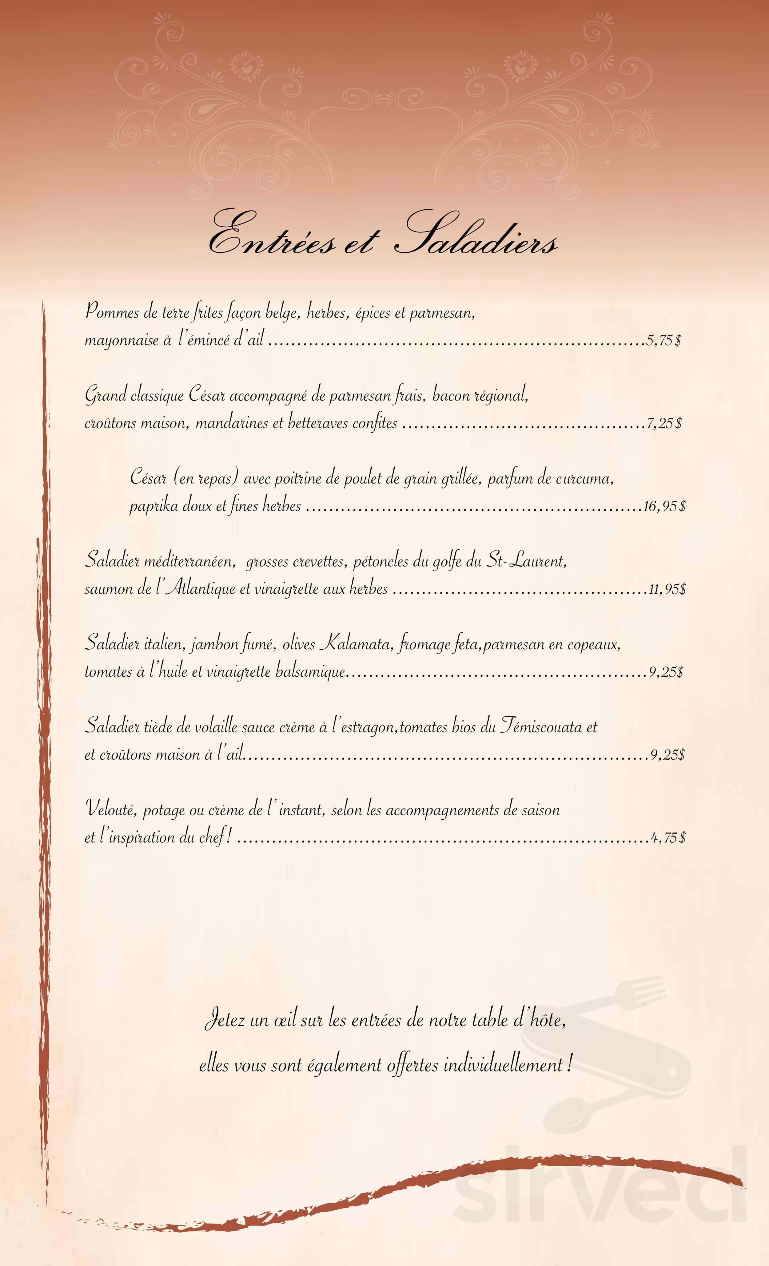 new product 9eed3 7adcc Menu for Auberge La Dolce Vita in Témiscouata-sur-le-Lac, Quebec