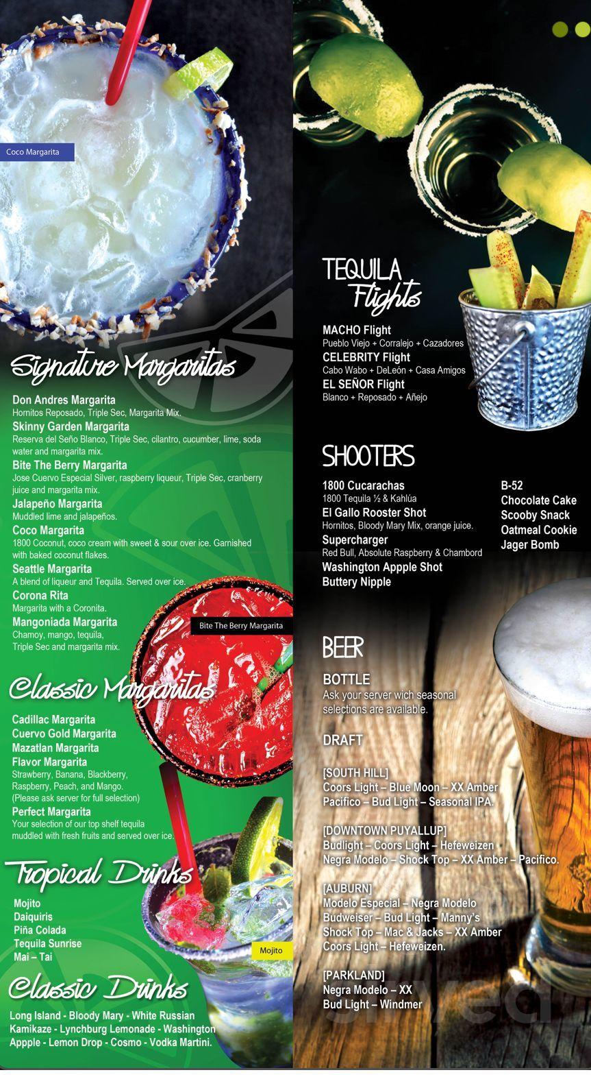 Menu For Mazatlan Restaurant In Puyallup Washington Usa