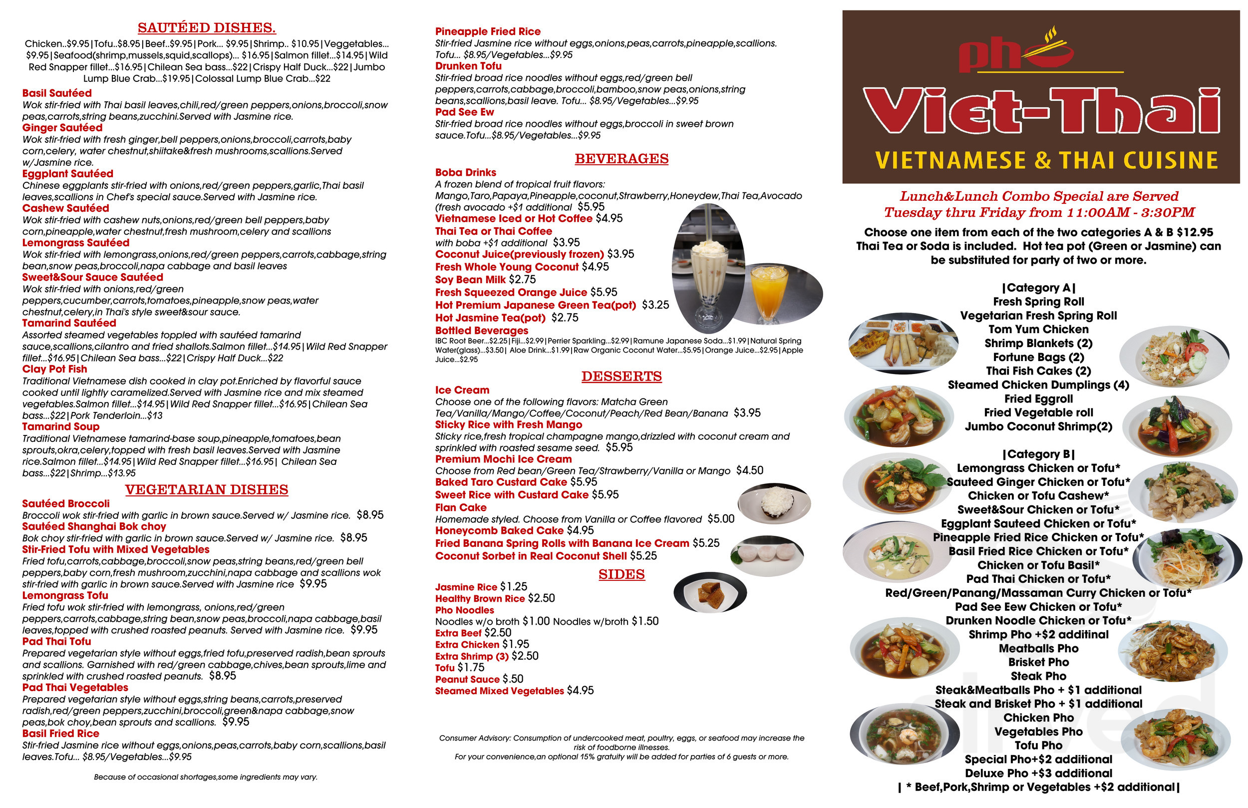Viet Thai Cuisine Menu In Horsham Pennsylvania Usa