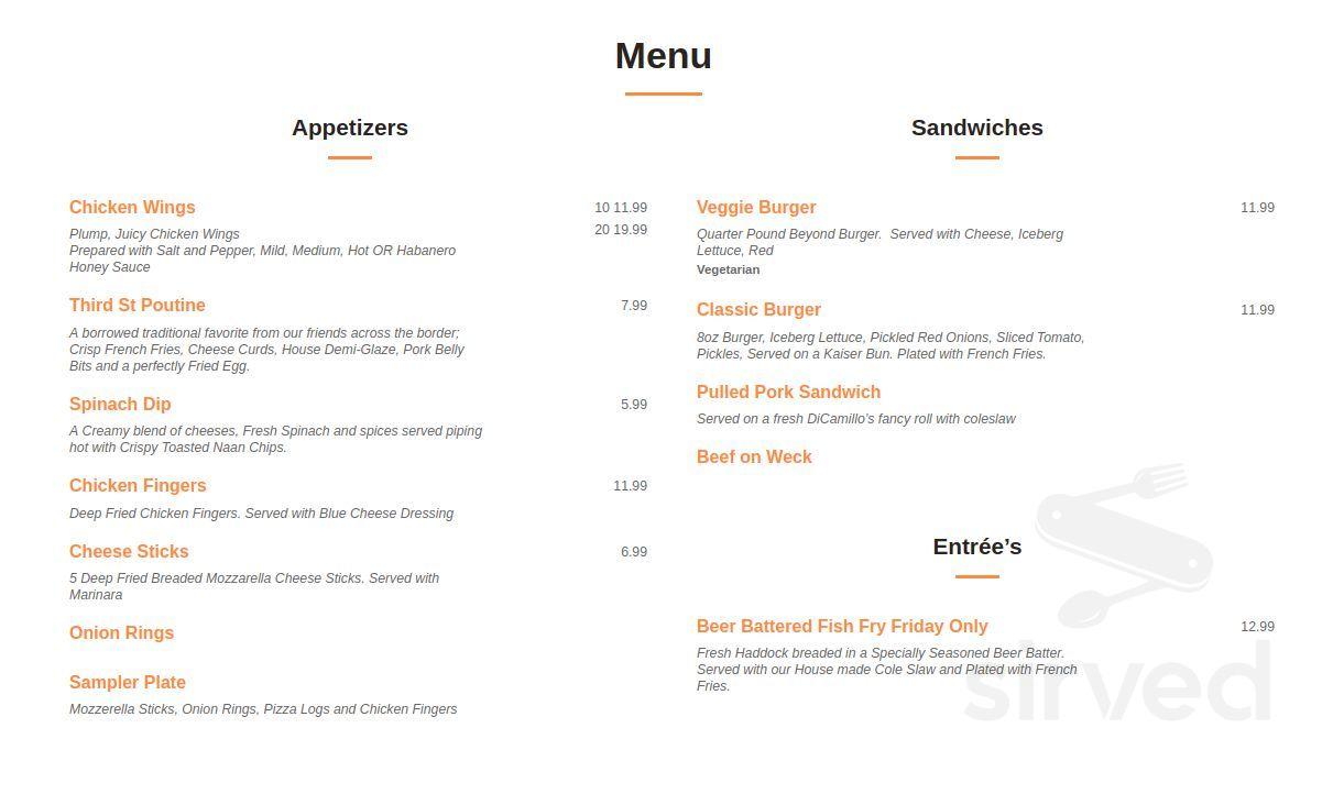Menu For The Craft Kitchen Bar In Niagara Falls New York