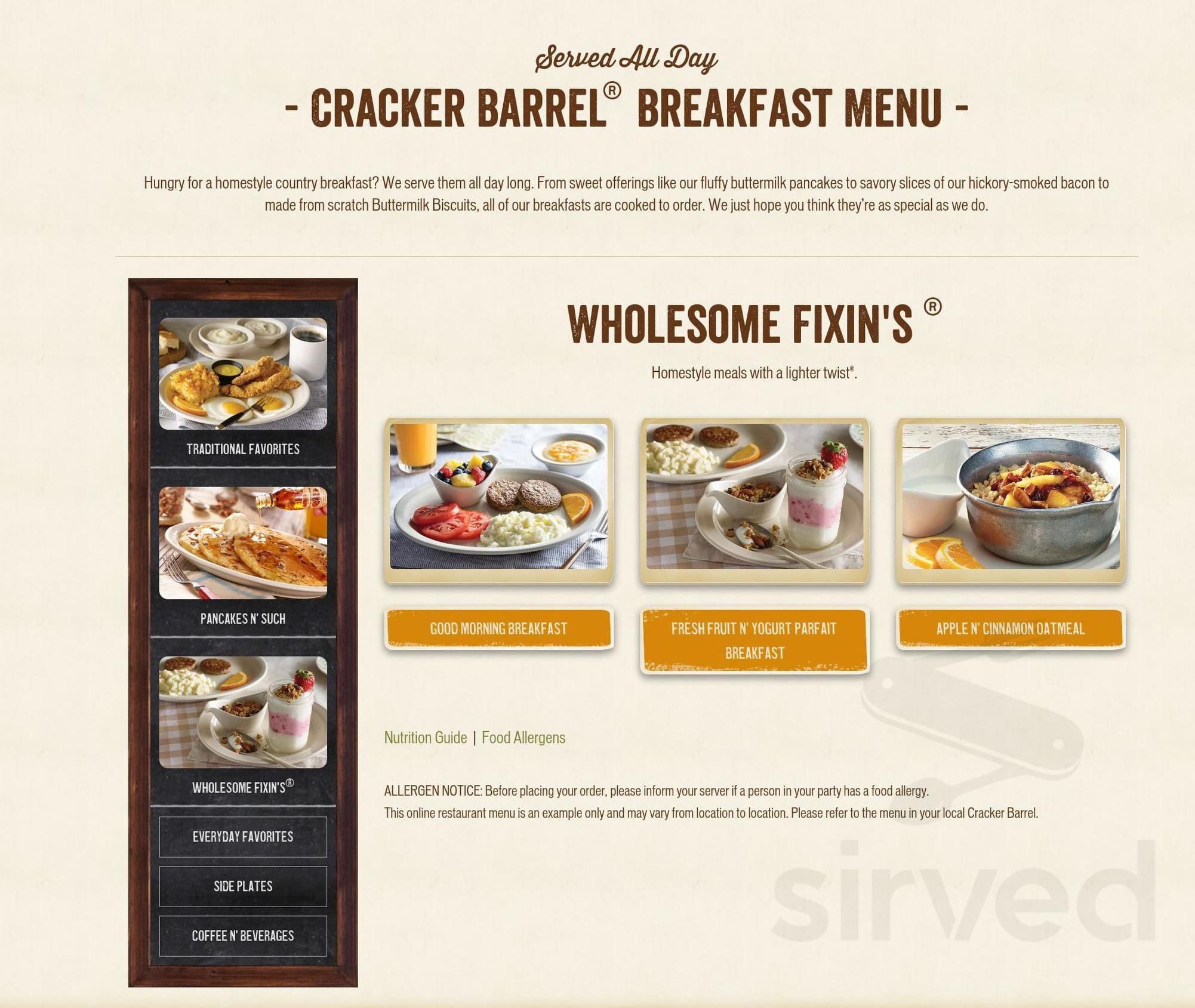 cracker barrel mobile alabama menu