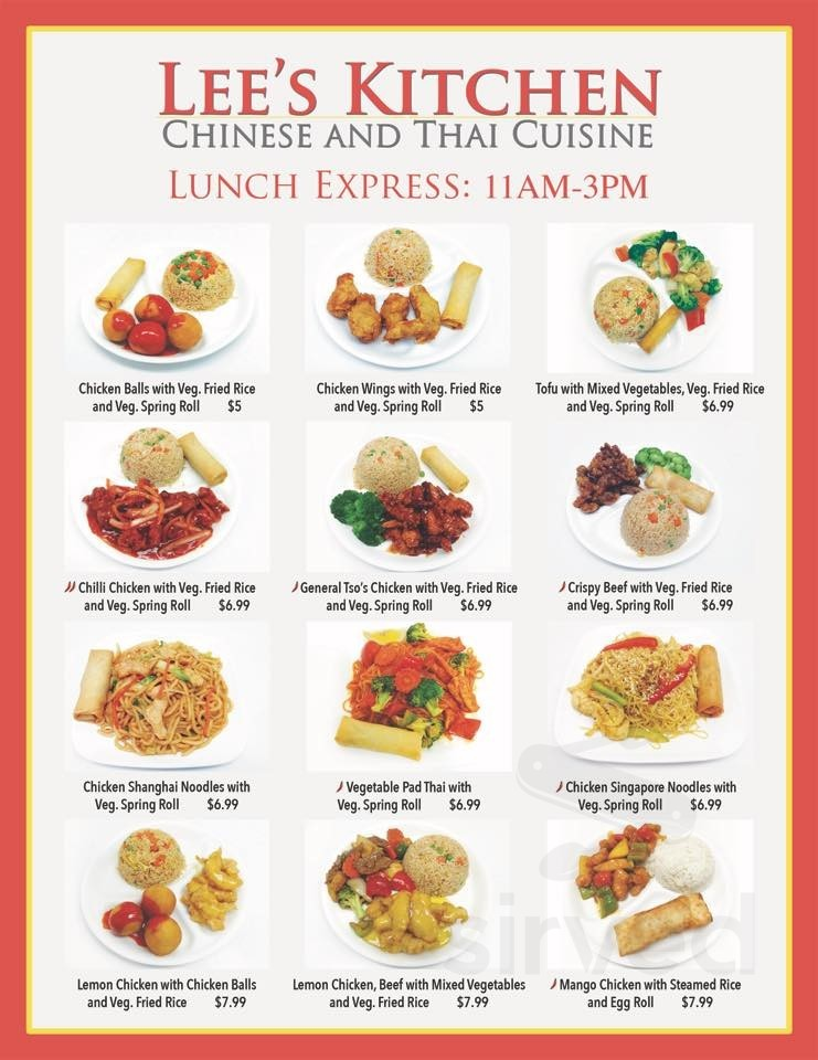 Lee S Kitchen Chinese Thai Cuisine Menu In Barrie Ontario Canada