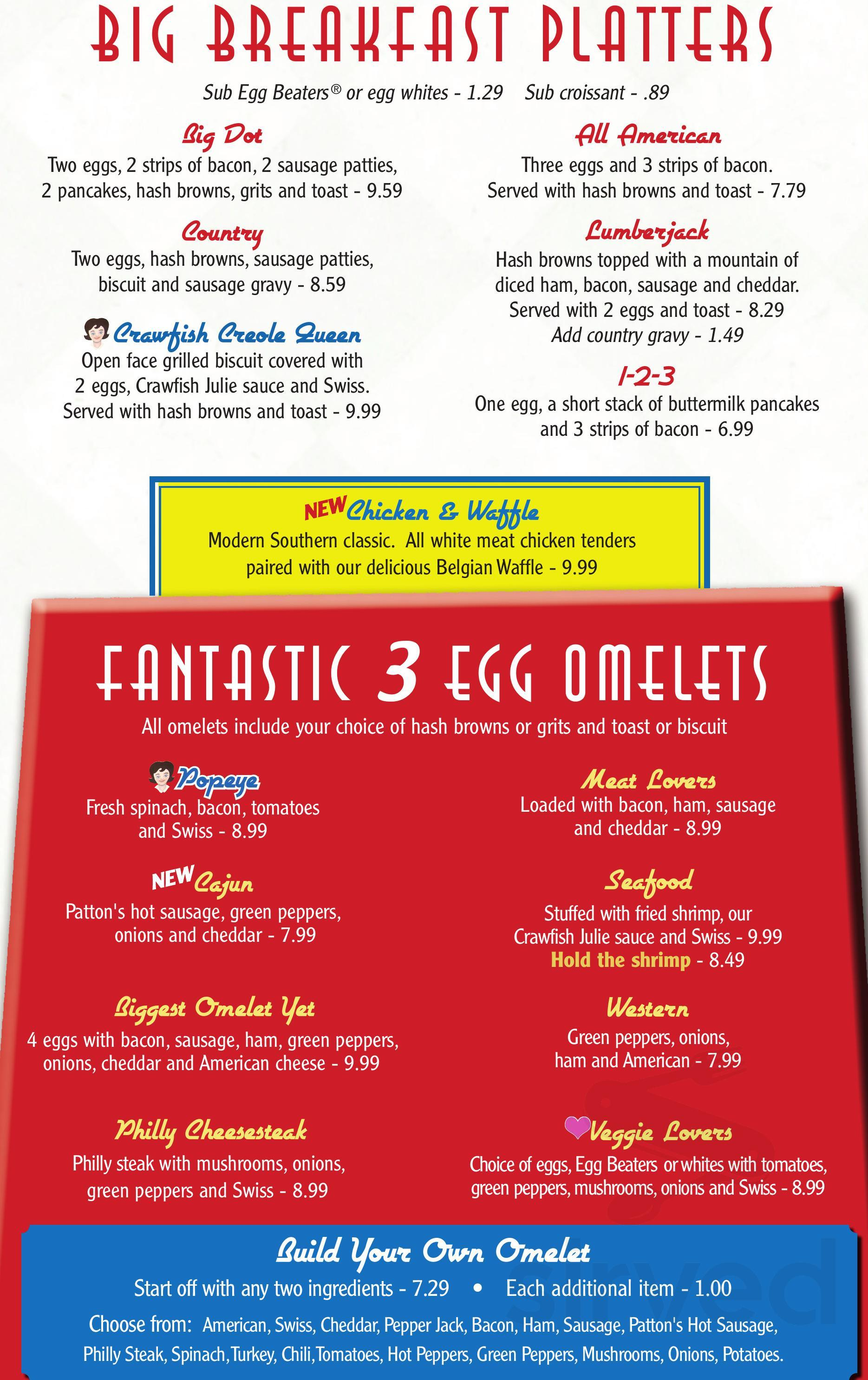 Menu for Dots Diner in Luling, Louisiana, USA
