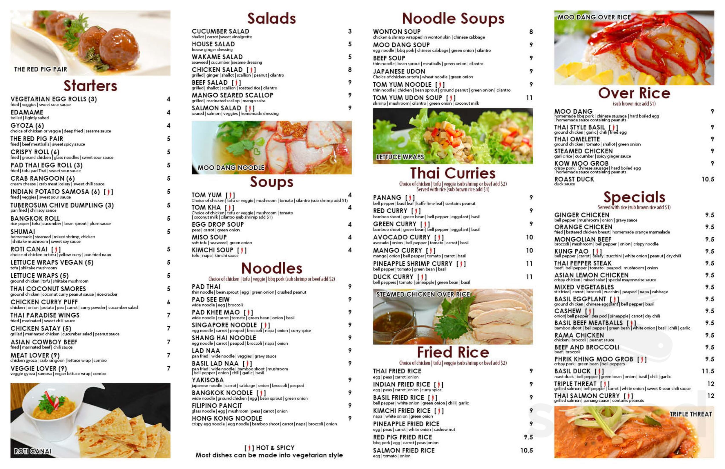 Menu For Red Pig Asian Kitchen In Chicago Illinois Usa