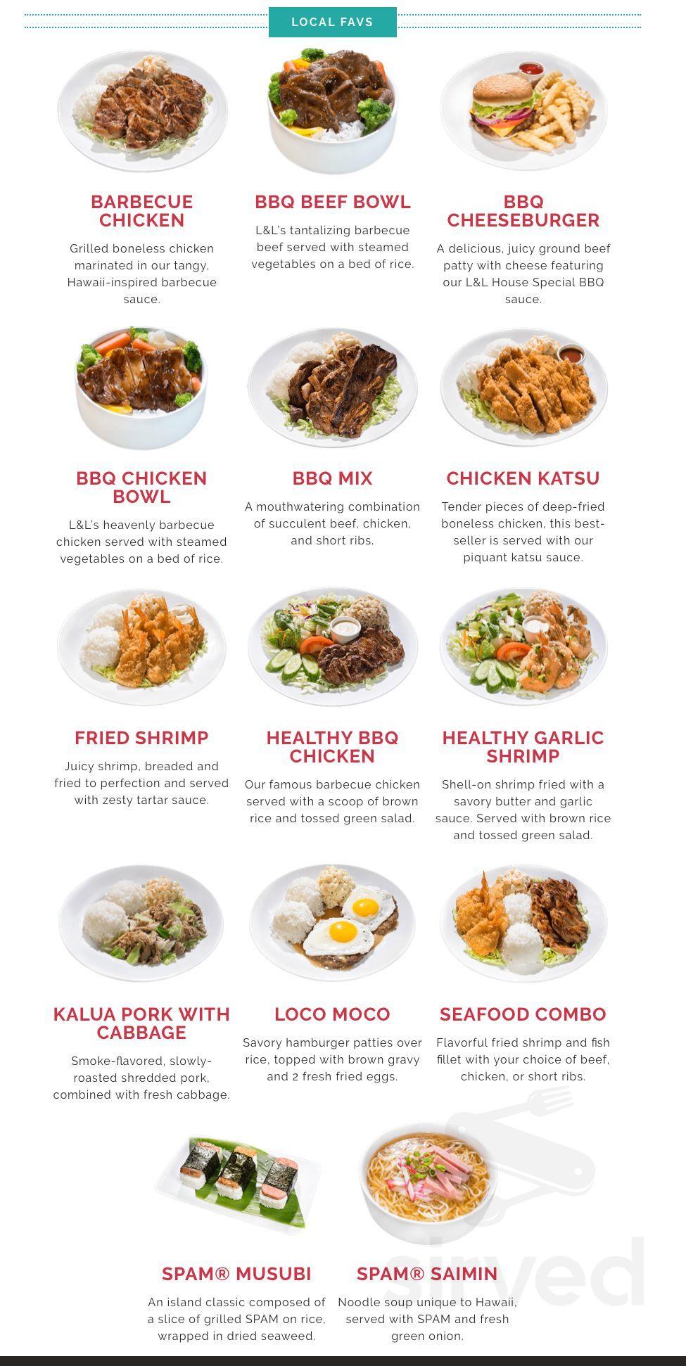 L&L Hawaiian Barbecue menu in Antioch, California, USA