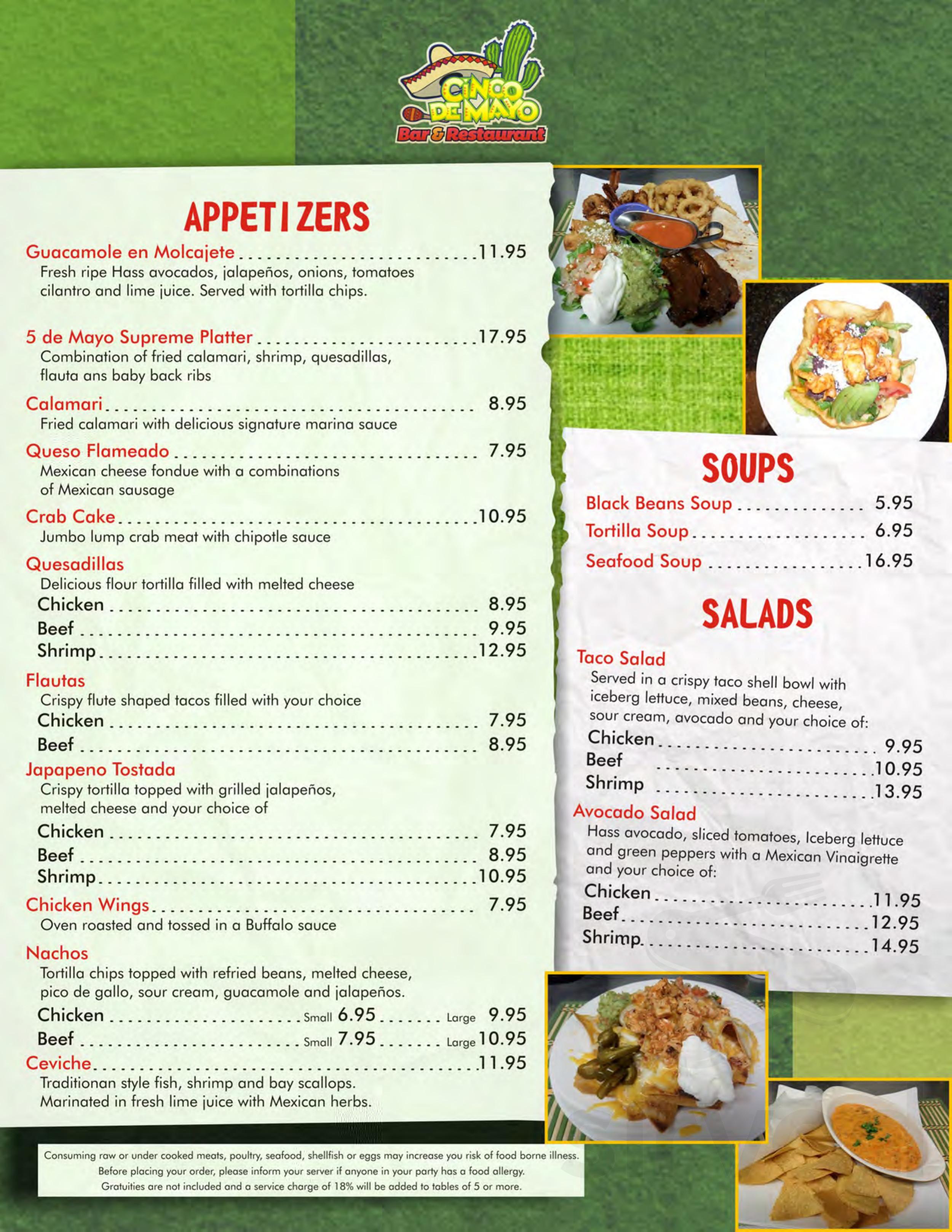 Cinco De Mayo Bar & Restaurant menu in ...