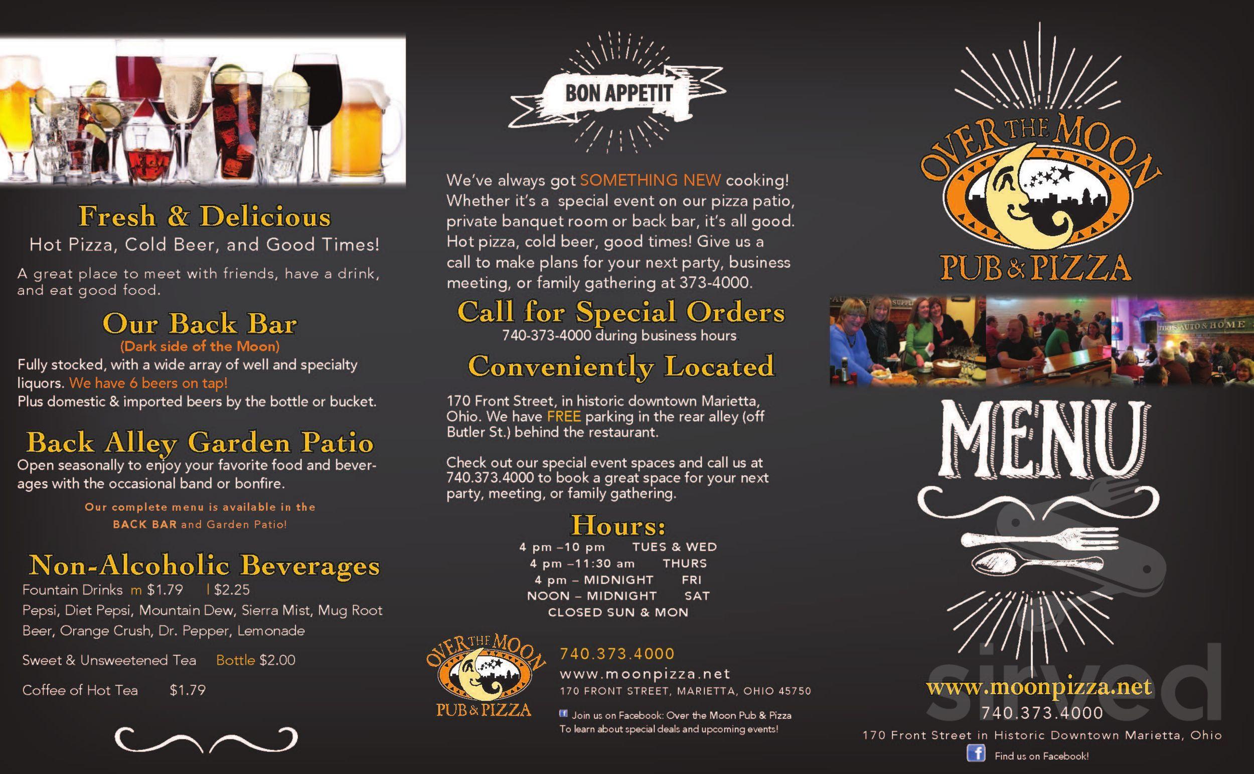 Menu for Over the Moon Pub & Pizza in Marietta, Ohio, USA