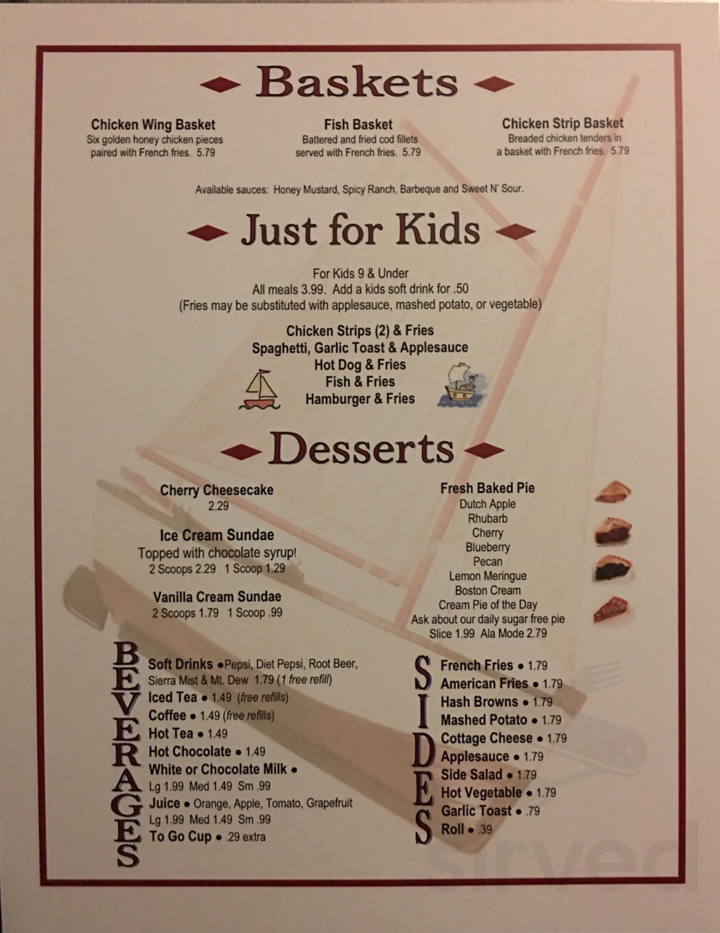 Menu For Village Kitchen In Angola Indiana Usa