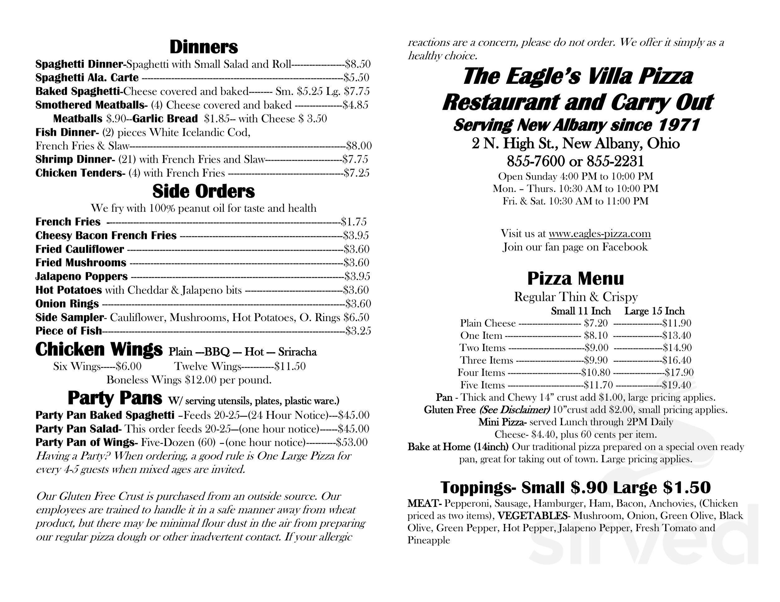 Menu For Eagles Pizza In New Albany Ohio Usa