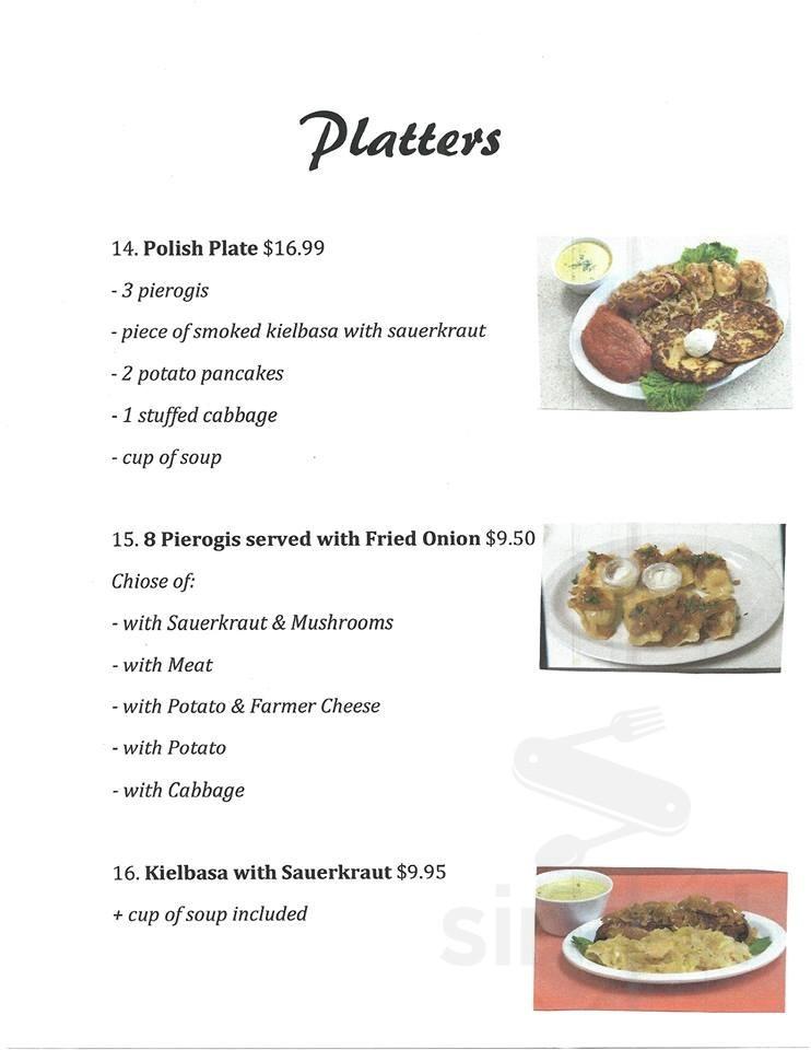 Menu For Eva S Polish Kitchen In Vero Beach Florida Usa