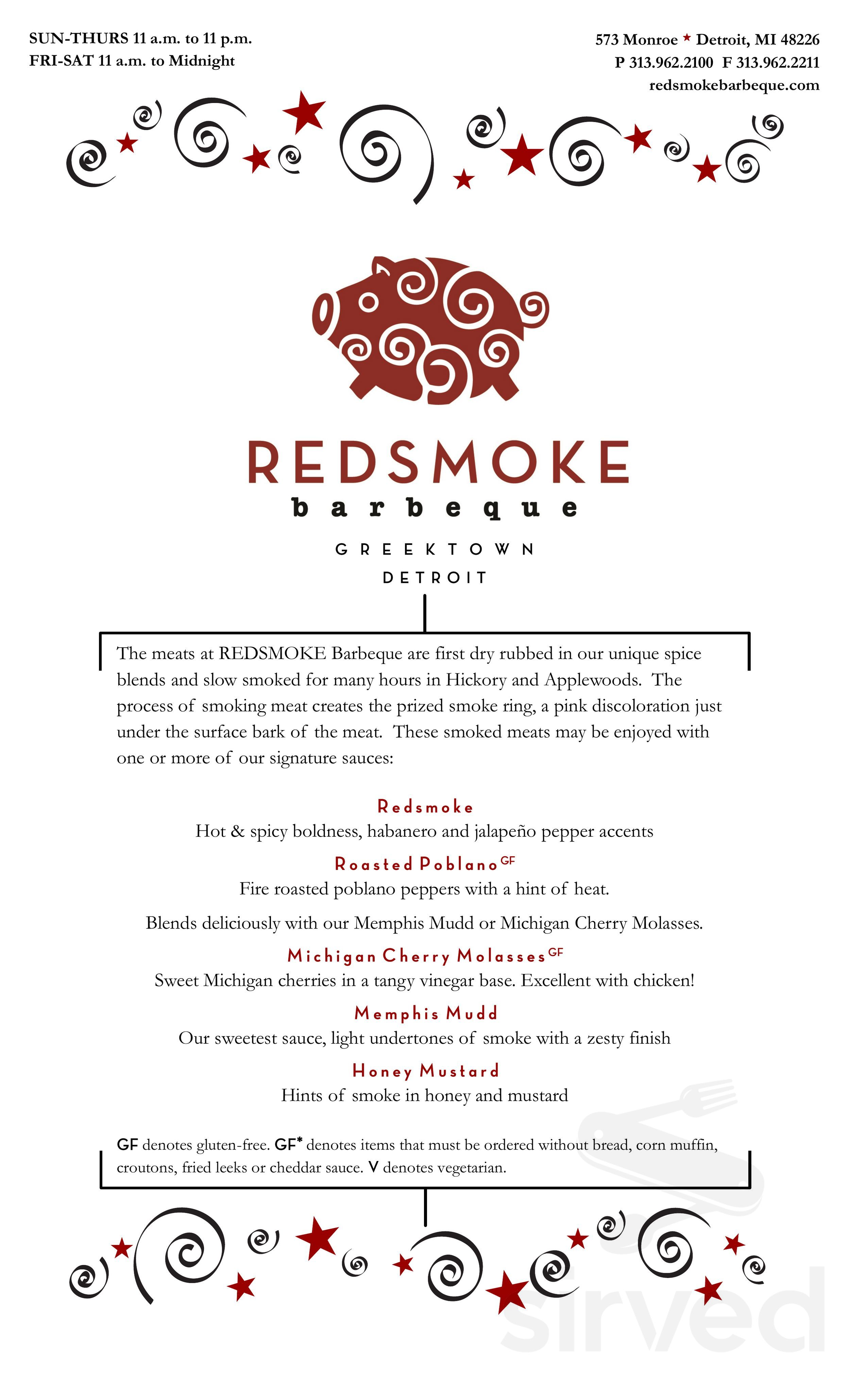 Menu for Red Smoke Barbecue in Detroit, Michigan, USA