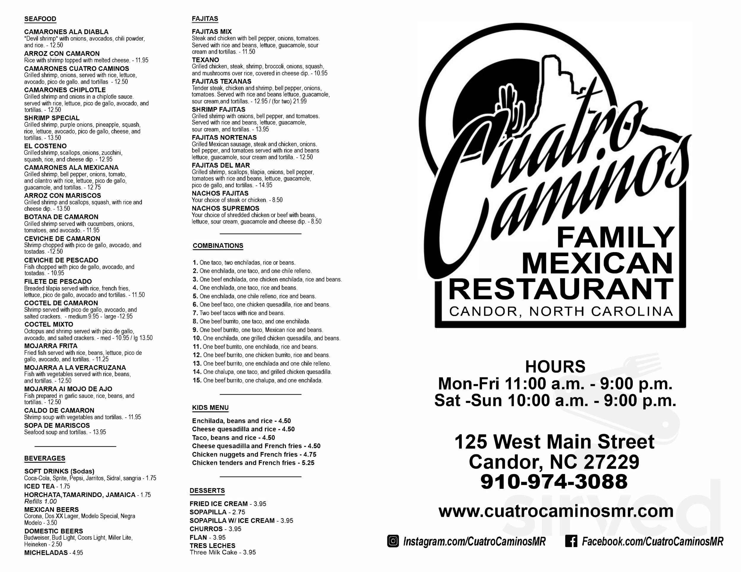 Cuatro Caminos Mexican Restaurant Menu In Candor North Carolina