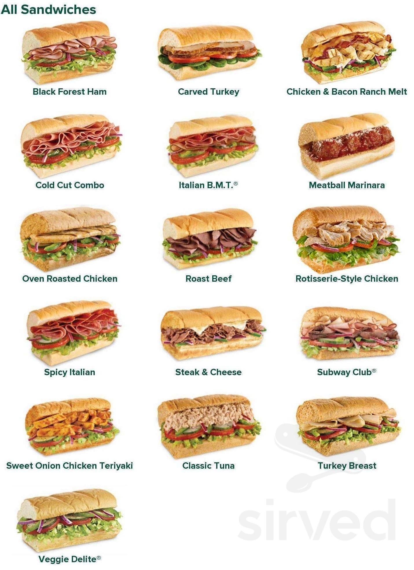 Subway menu in Fall River, Nova Scotia, Canada