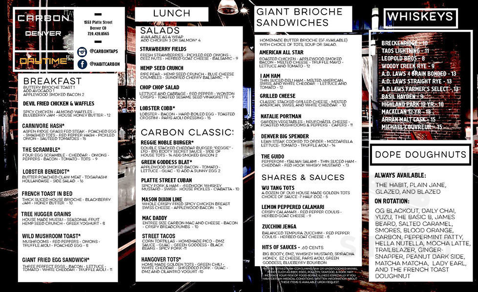 Menu for Carbon Cafe & Bar in Denver, Colorado, USA