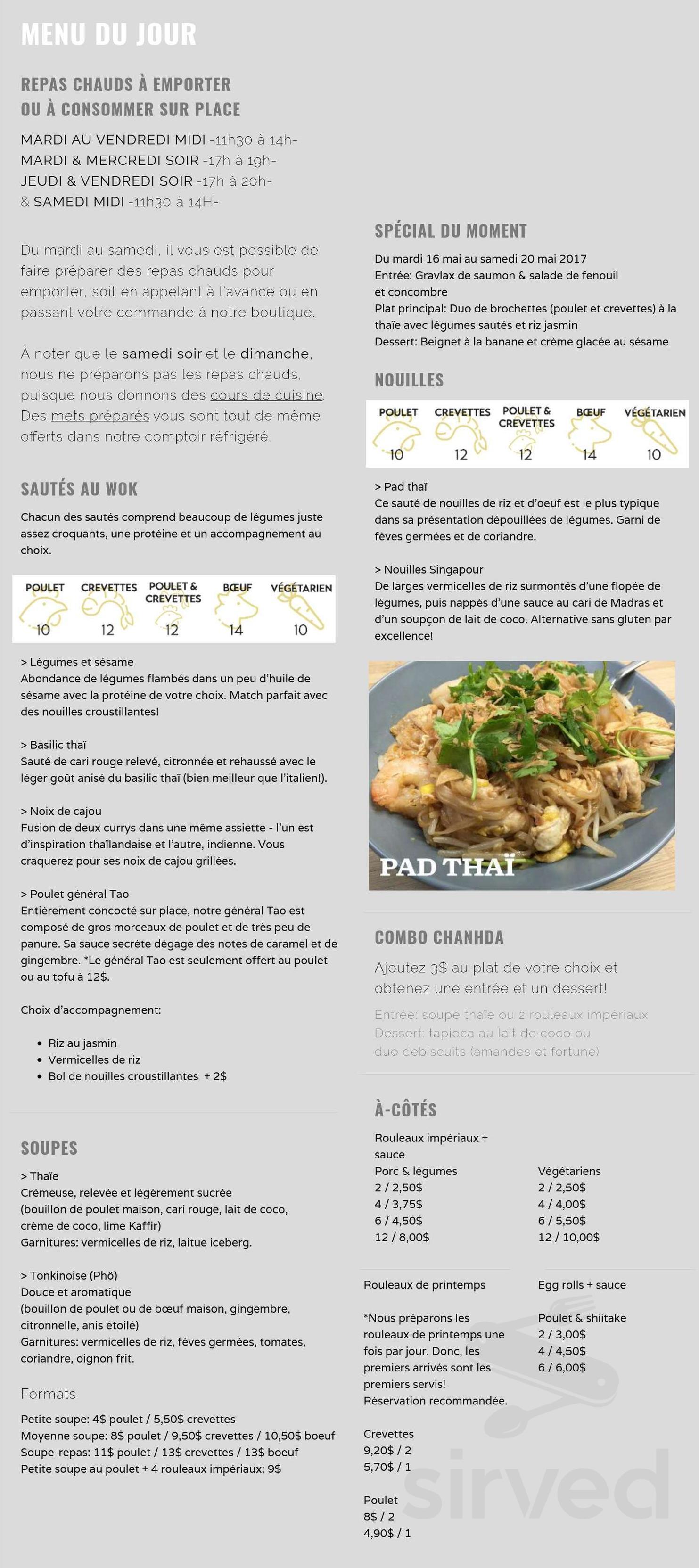 Chanhda Cuisine Asiatique Menu In Ville De Quebec Quebec