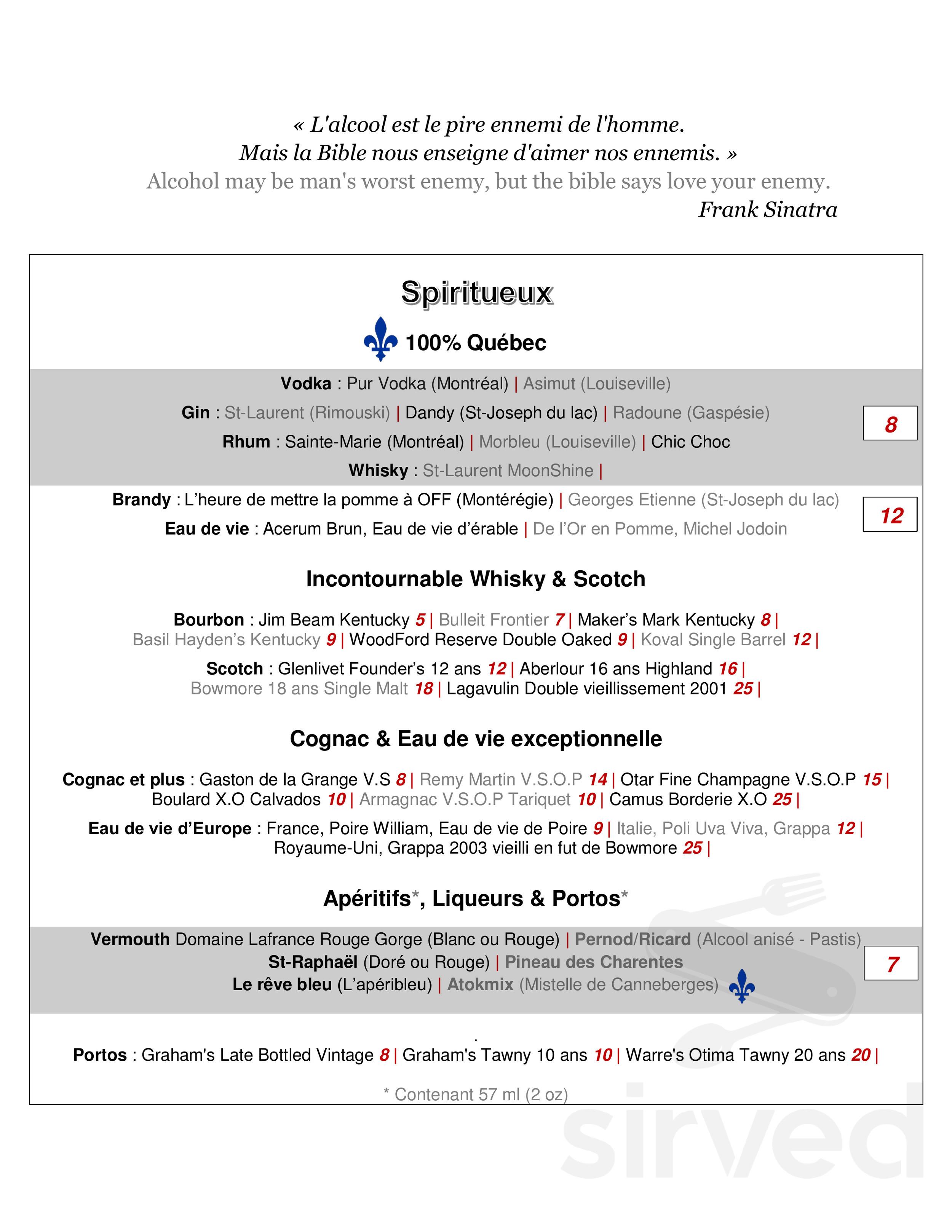 La Poste Le Poiré Sur Vie resto-bar le brasier 1908 menu in trois-rivières, quebec
