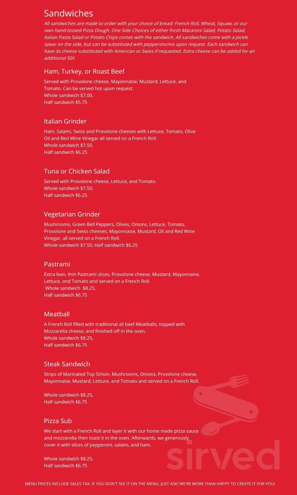 Jerseys Pizza of Redlands menu in Redlands, California, USA