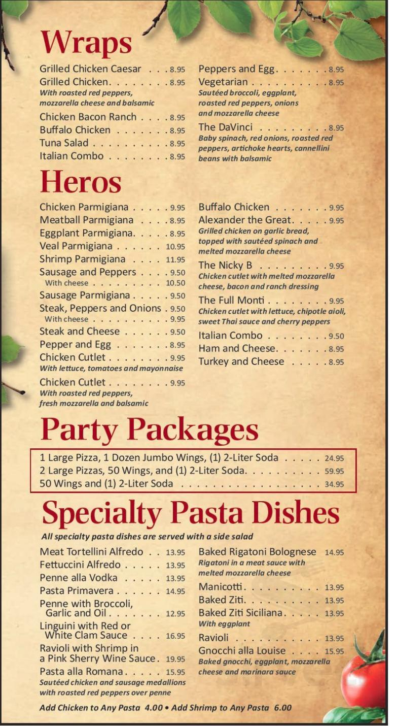 Menu For The Bariles Planet Pizza In Newburgh New York