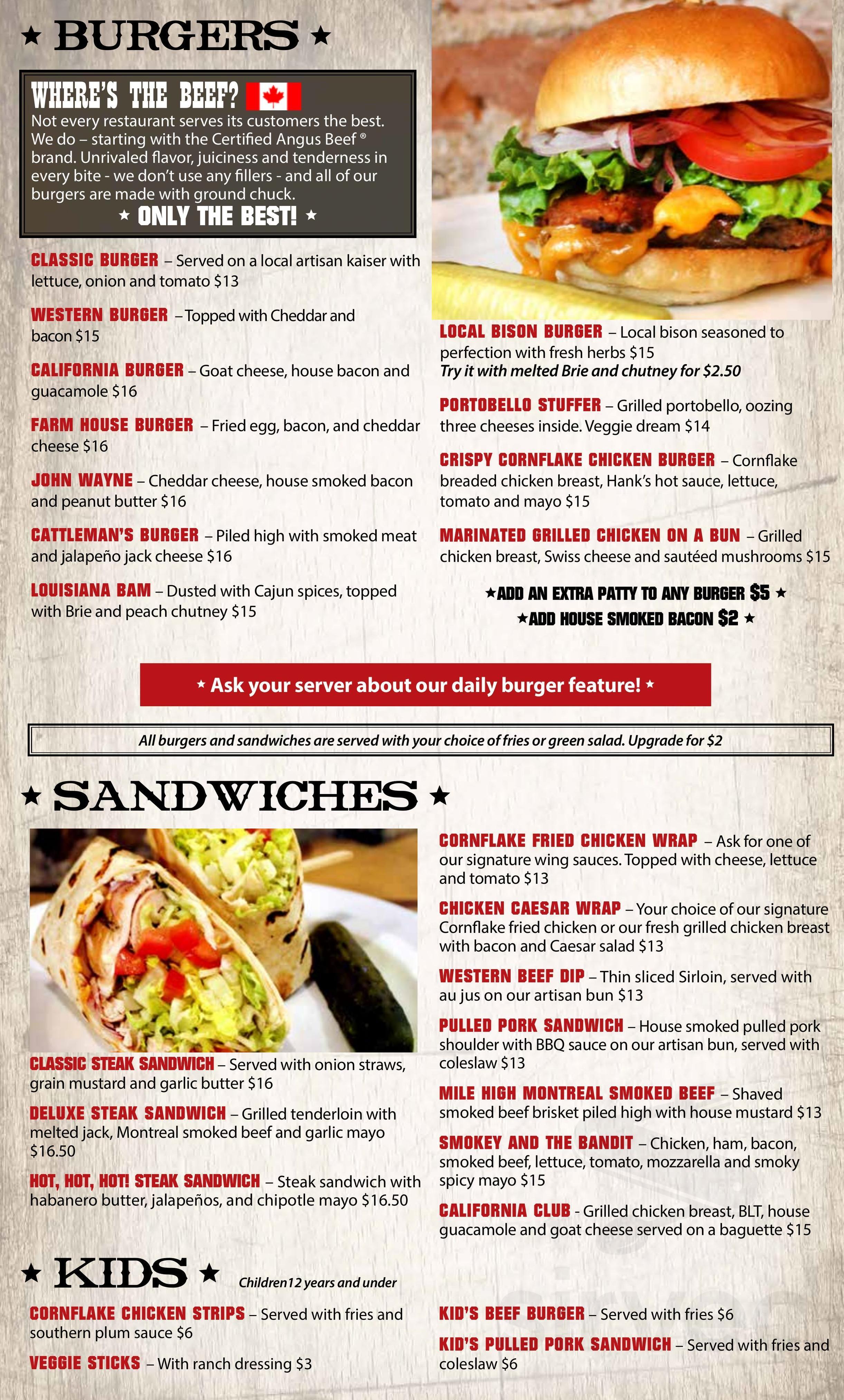 Menu For Western Hotel Burgers Steaks In Guelph Ontario