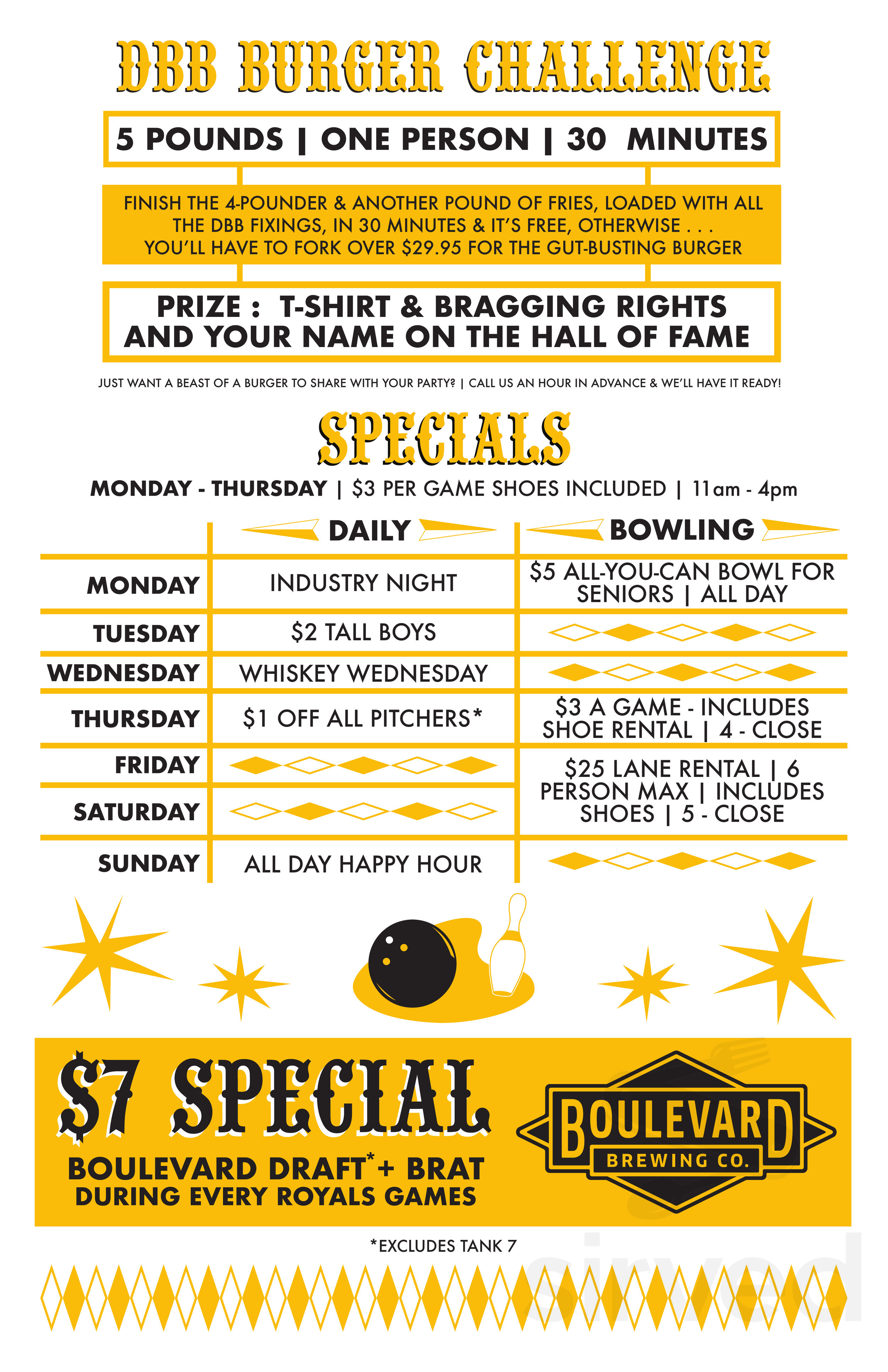 Menu for Diamond Bowl & Billiards in Independence, Missouri