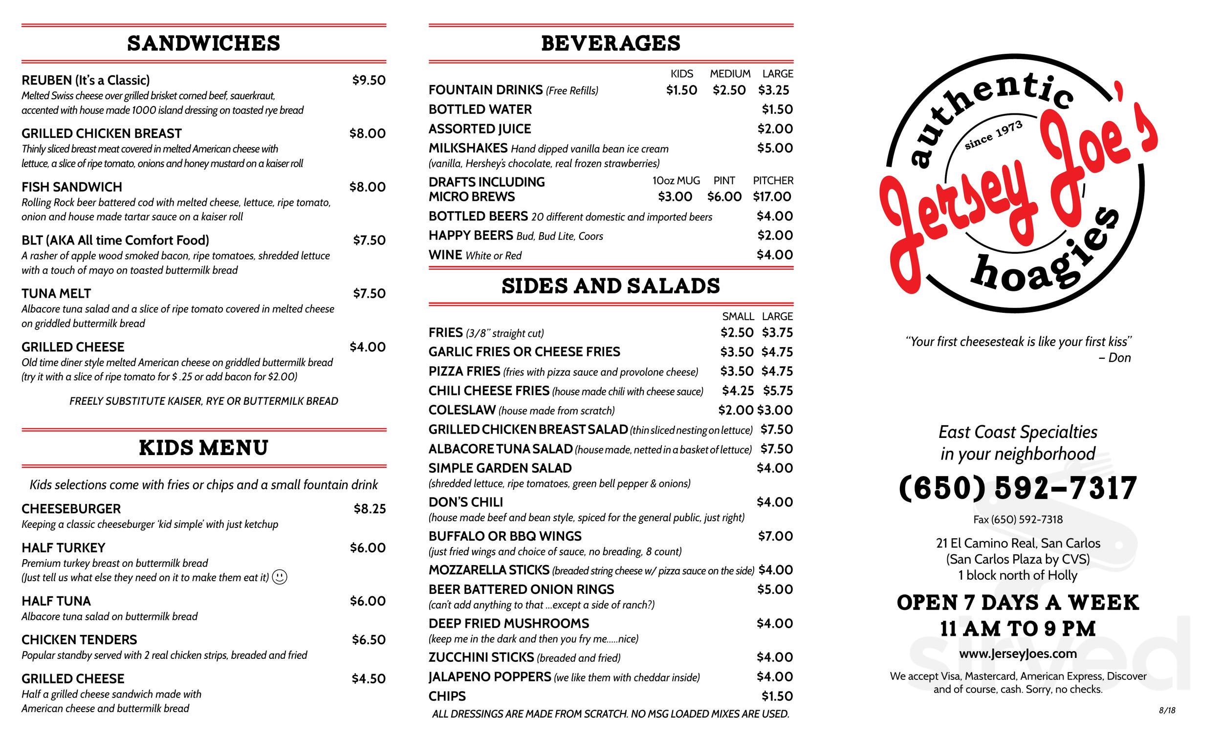 Jersey Joe's Cheesesteak menu in San Carlos, California, USA