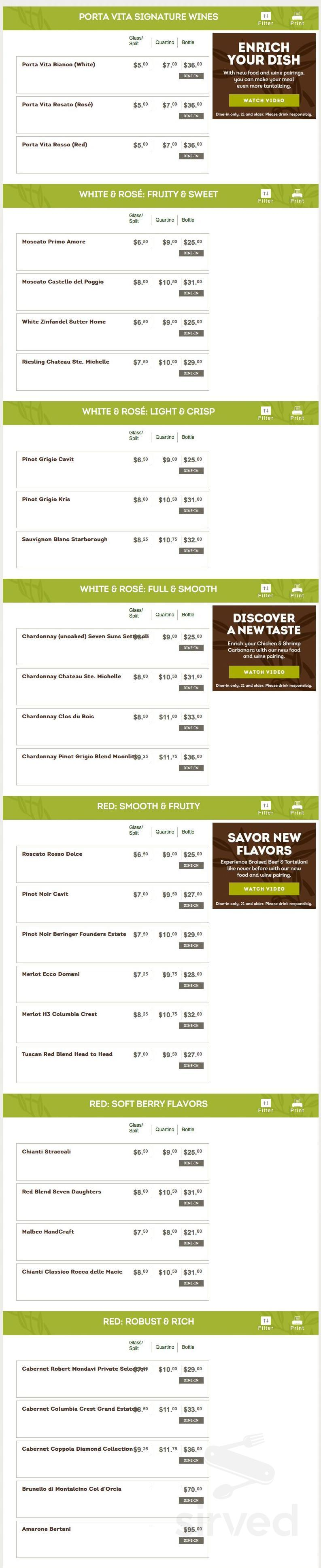 Olive Garden Italian Restaurant Menu In Salisbury Maryland